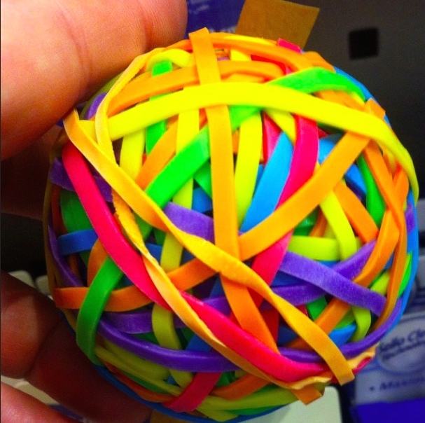 DAY 16: HAPPY - A READY MADE RUBBER BAND BALL