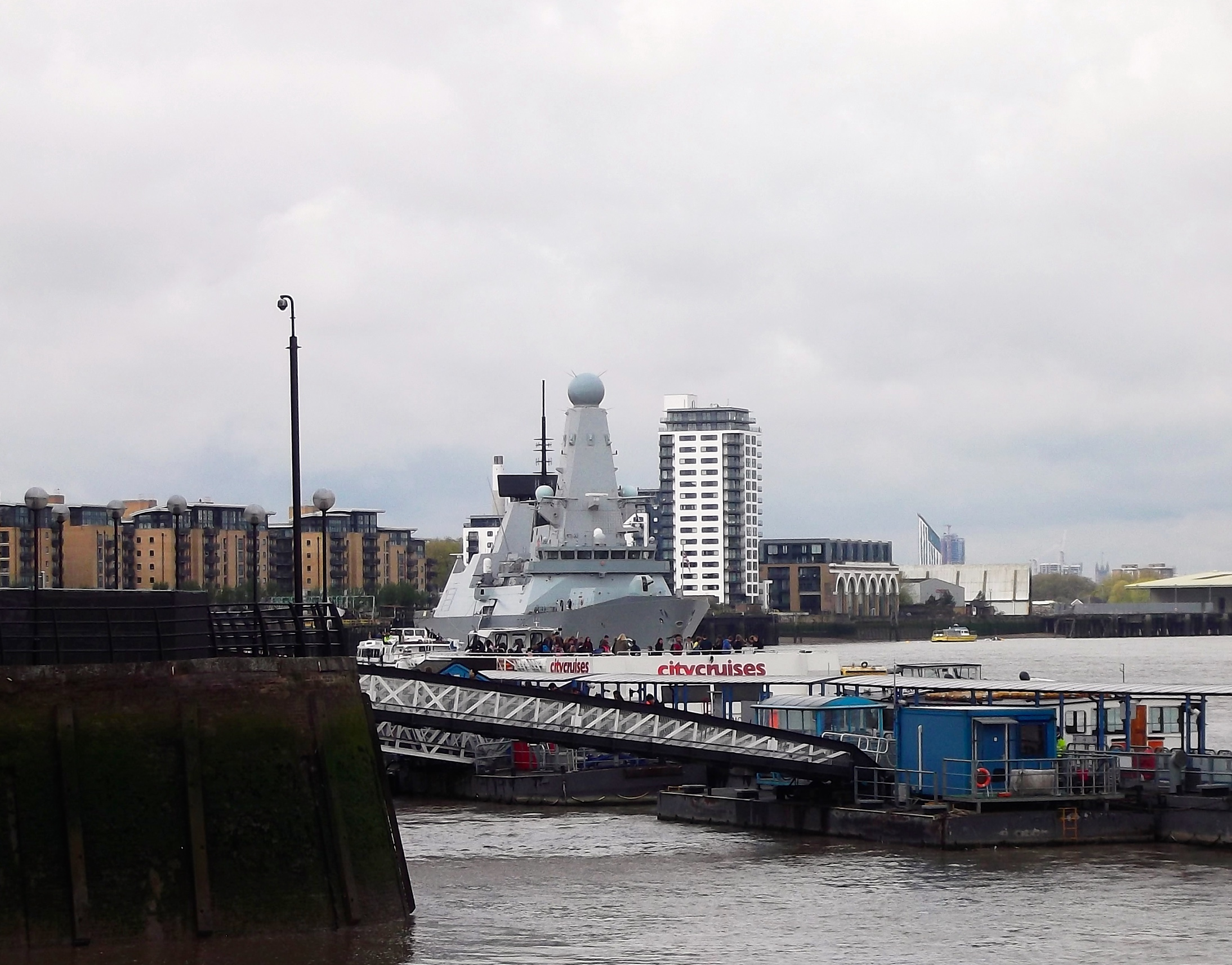 OUR FIRST GLIMPSE OF HMS DEFENDER