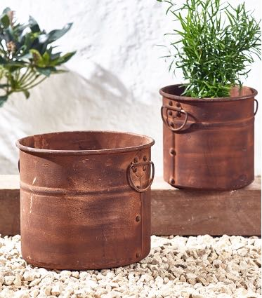 RUSTY NESTING PLANTERS, PHOTO CREDIT COX & COX