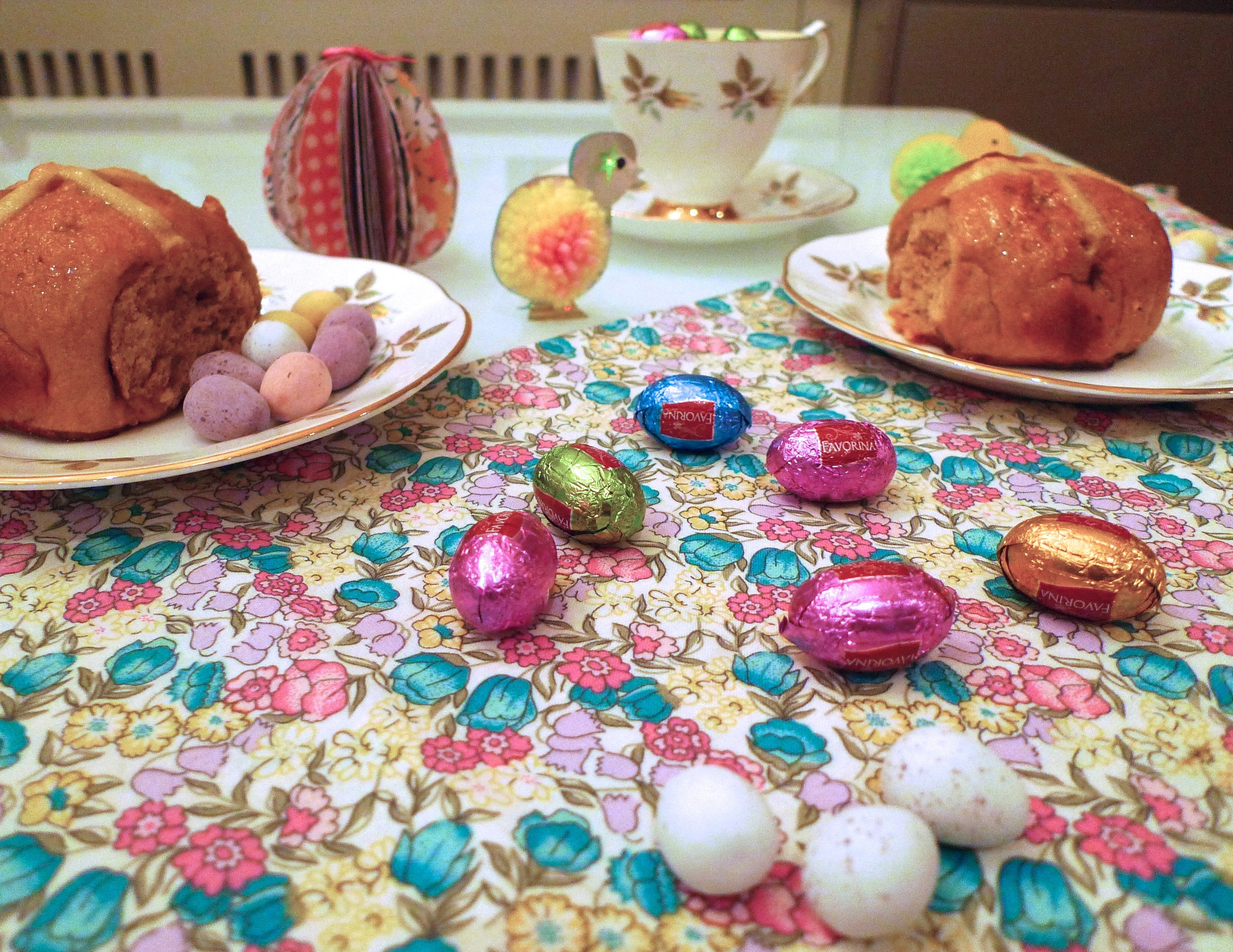 easter eggs and hot cross buns