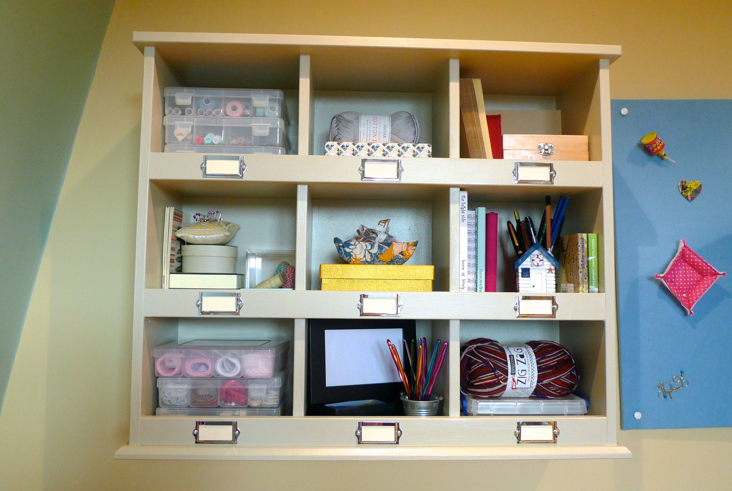 shelves and rainbow board