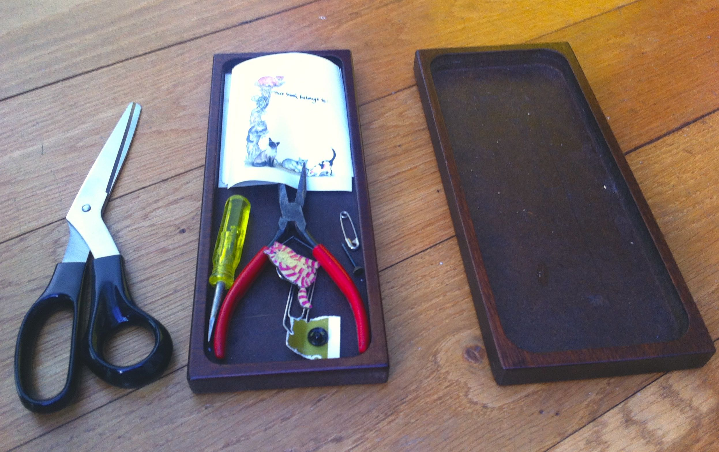 SCISSORS, PLIERS, ONE PRESS STUD AND BOOK LABELS...