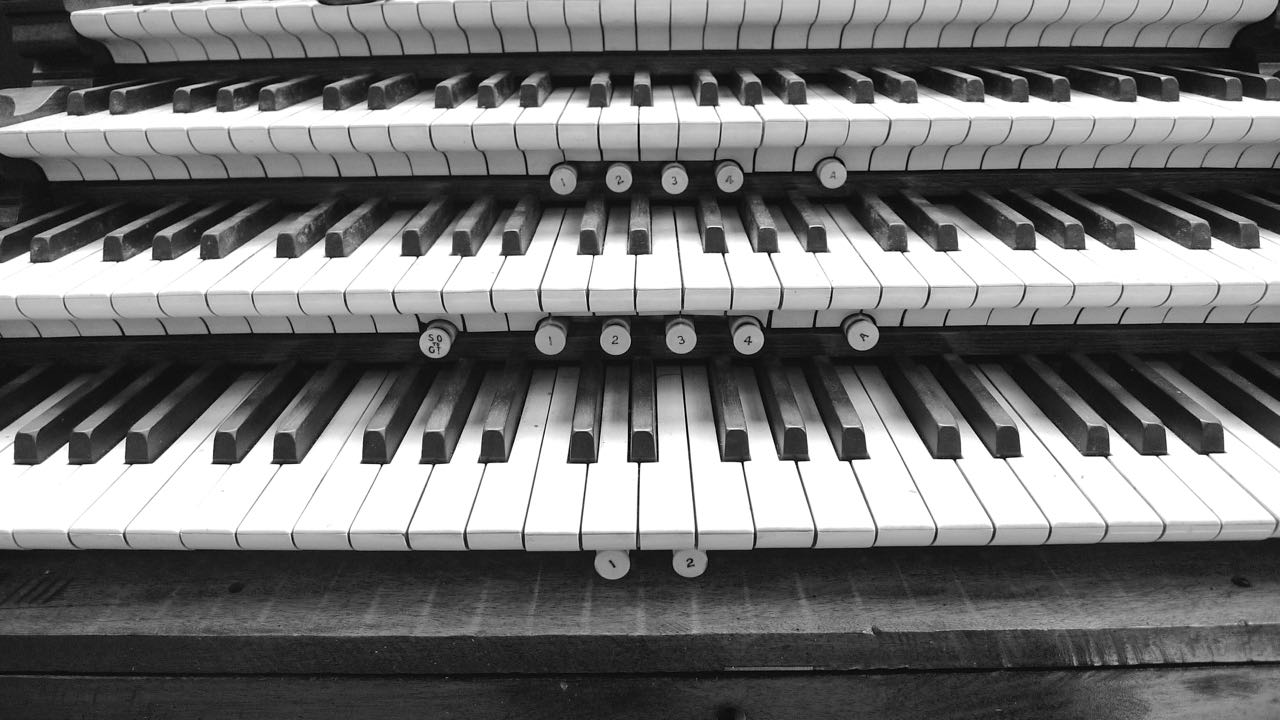 The organ's keyboards at St Mary Magdalene in Newark on Trent - it lends itself to black and white photography.
