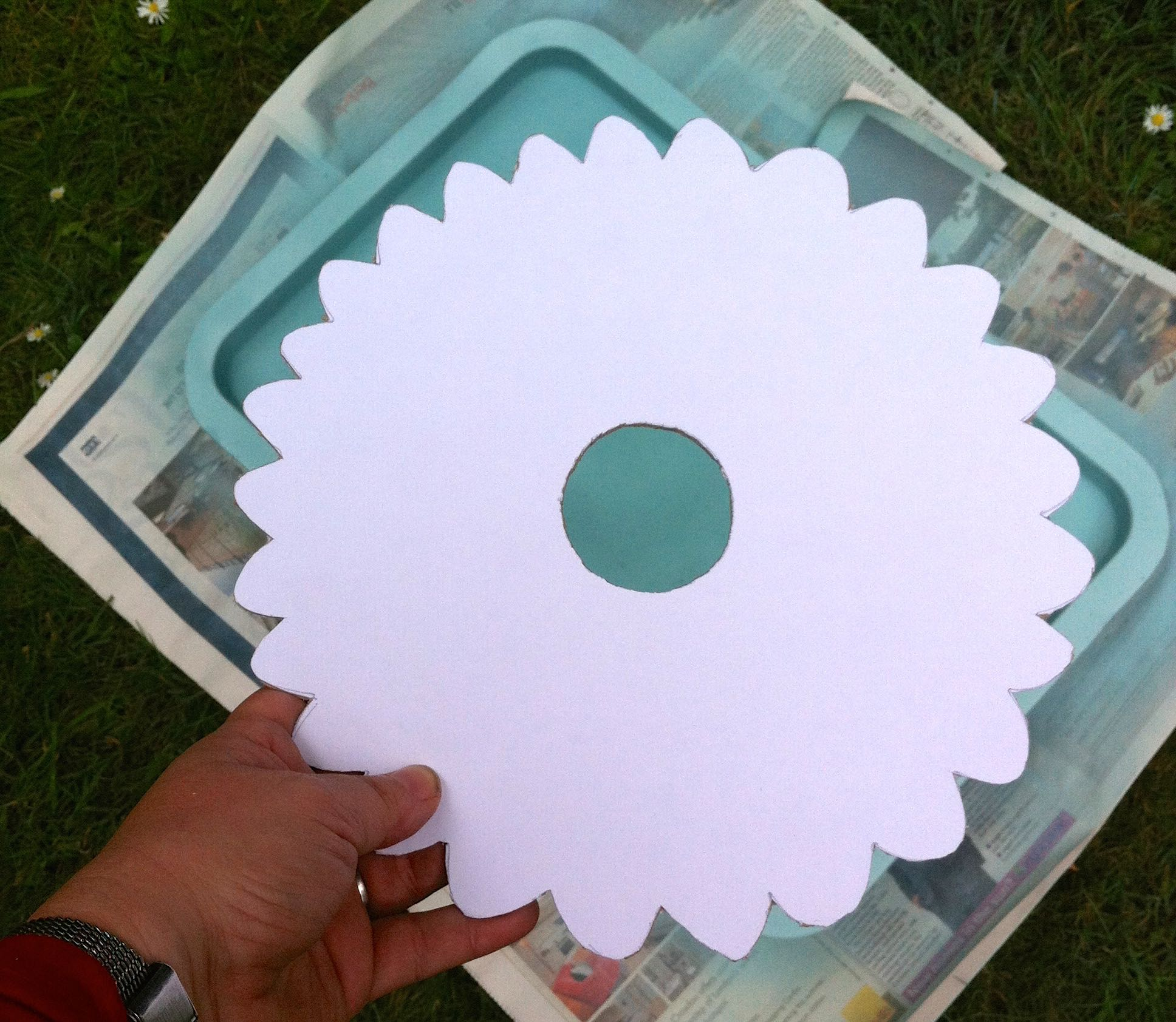 A completed flower shaped template