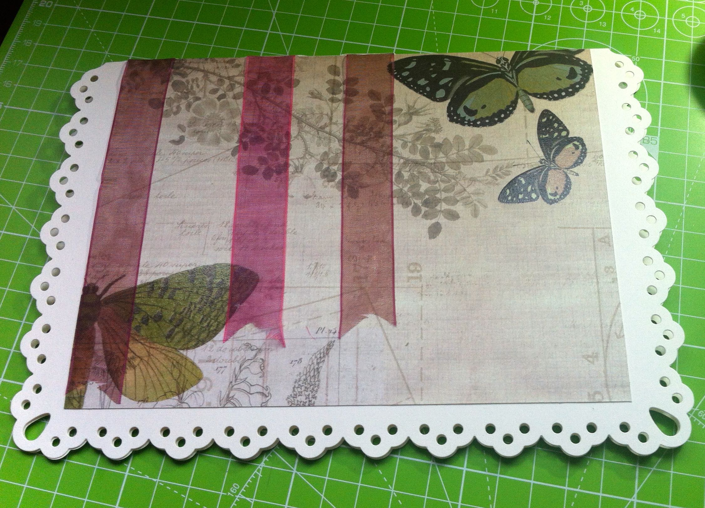 laying out the front of my card, adding scrapbook paper gave it more depth and interest