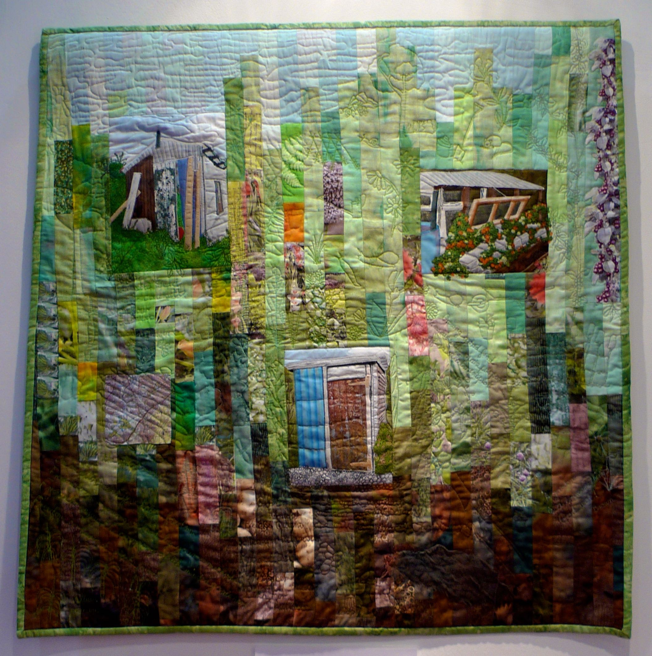 A quilted allotment plot - and it's got a shed!
