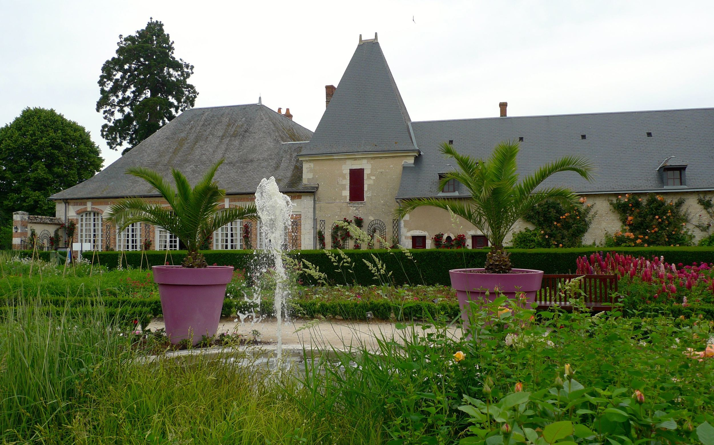 In the Jardin Potager at Cheverny with its large pink flower pots and fountain