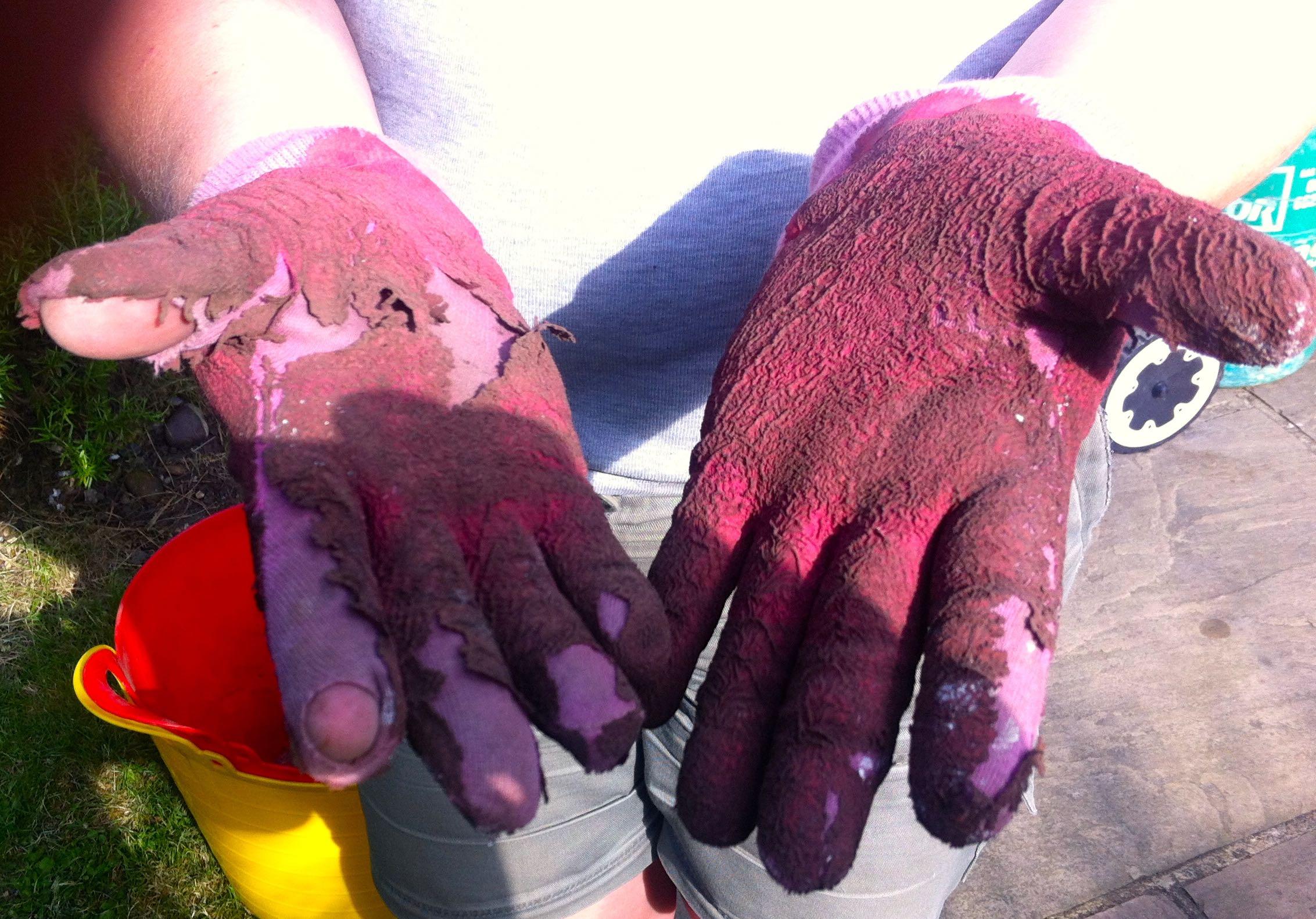 Worn out gardening gloves