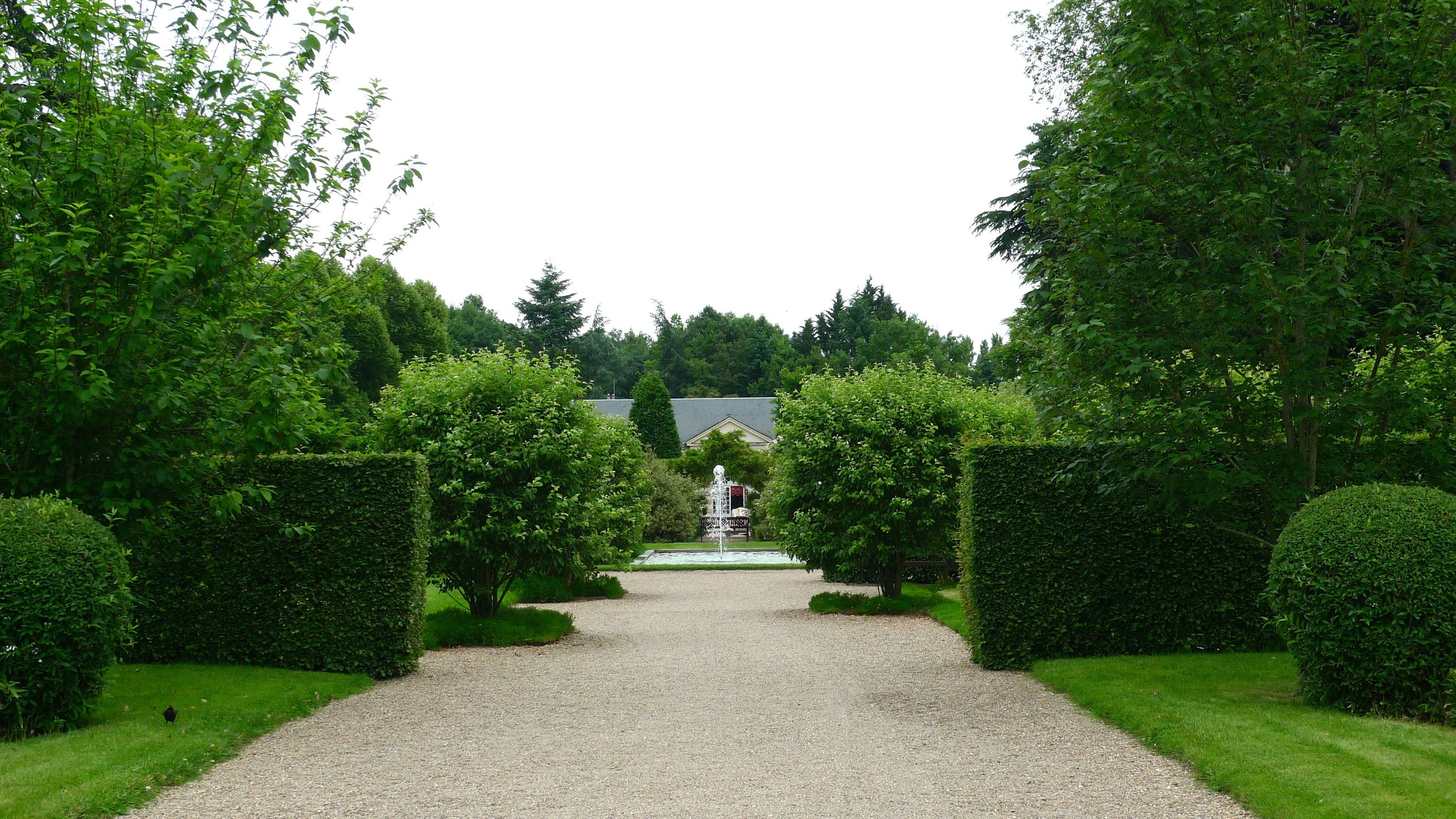 Leaving the chateau heading towards the Orangerie at Cheverny