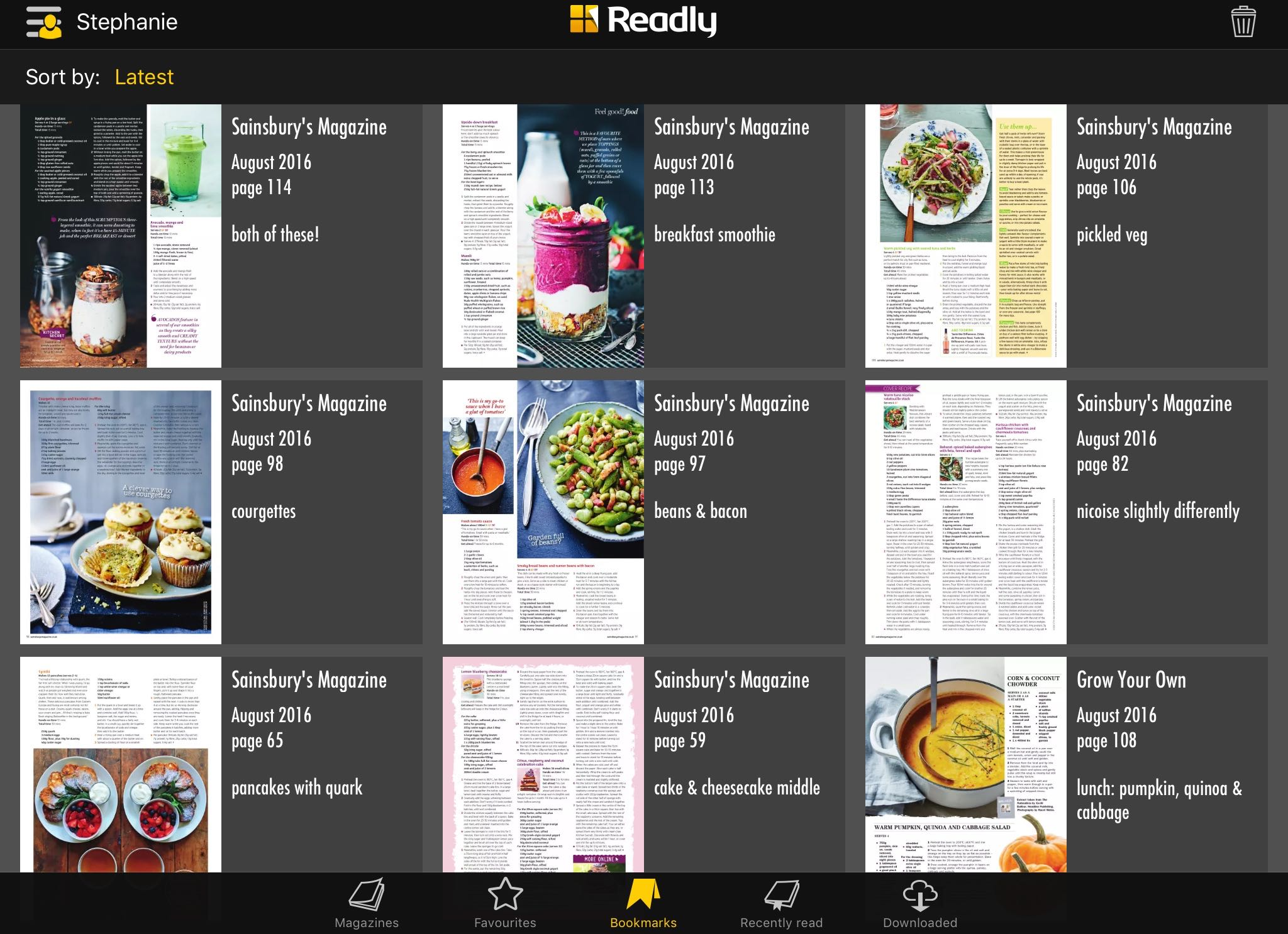 My bookmarks all seem to be about food!
