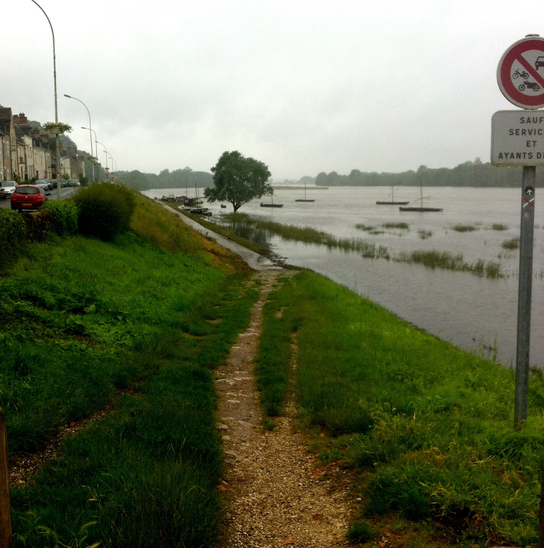Another path that's flooded on the Loire a Velo path