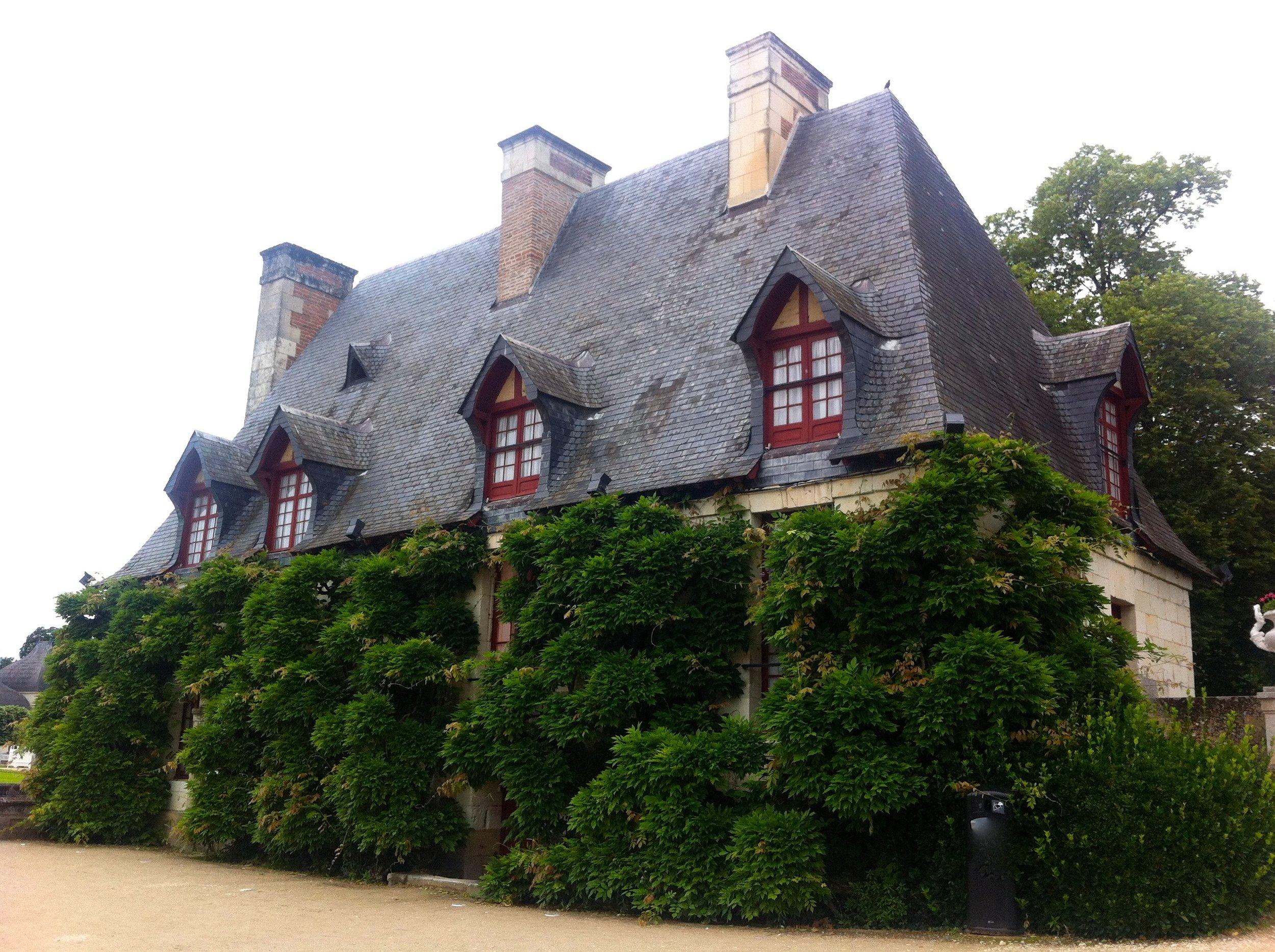 a mini chateau covered with greenery