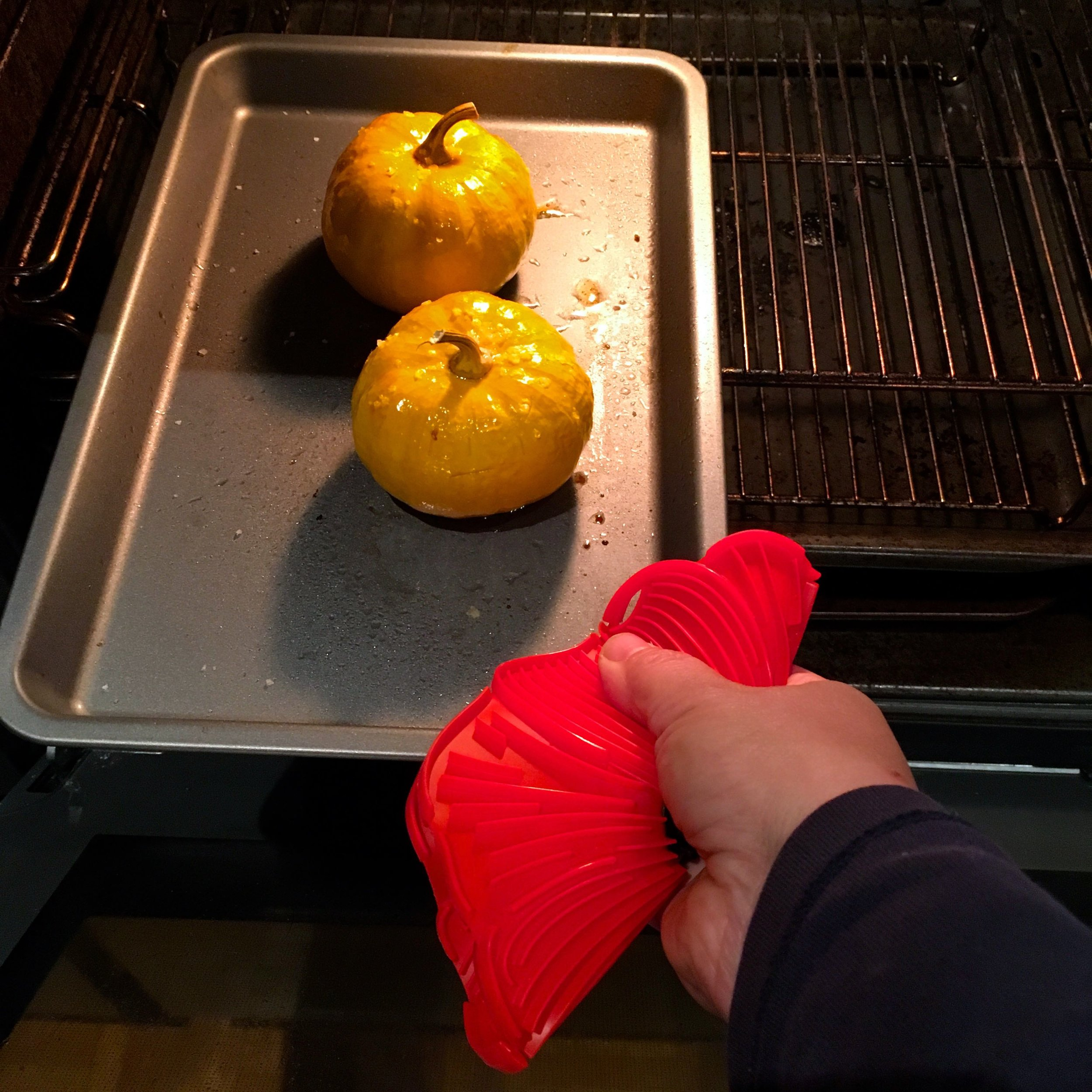 This charles viancin poppy silicone trivet also doubles up to get things out of the oven