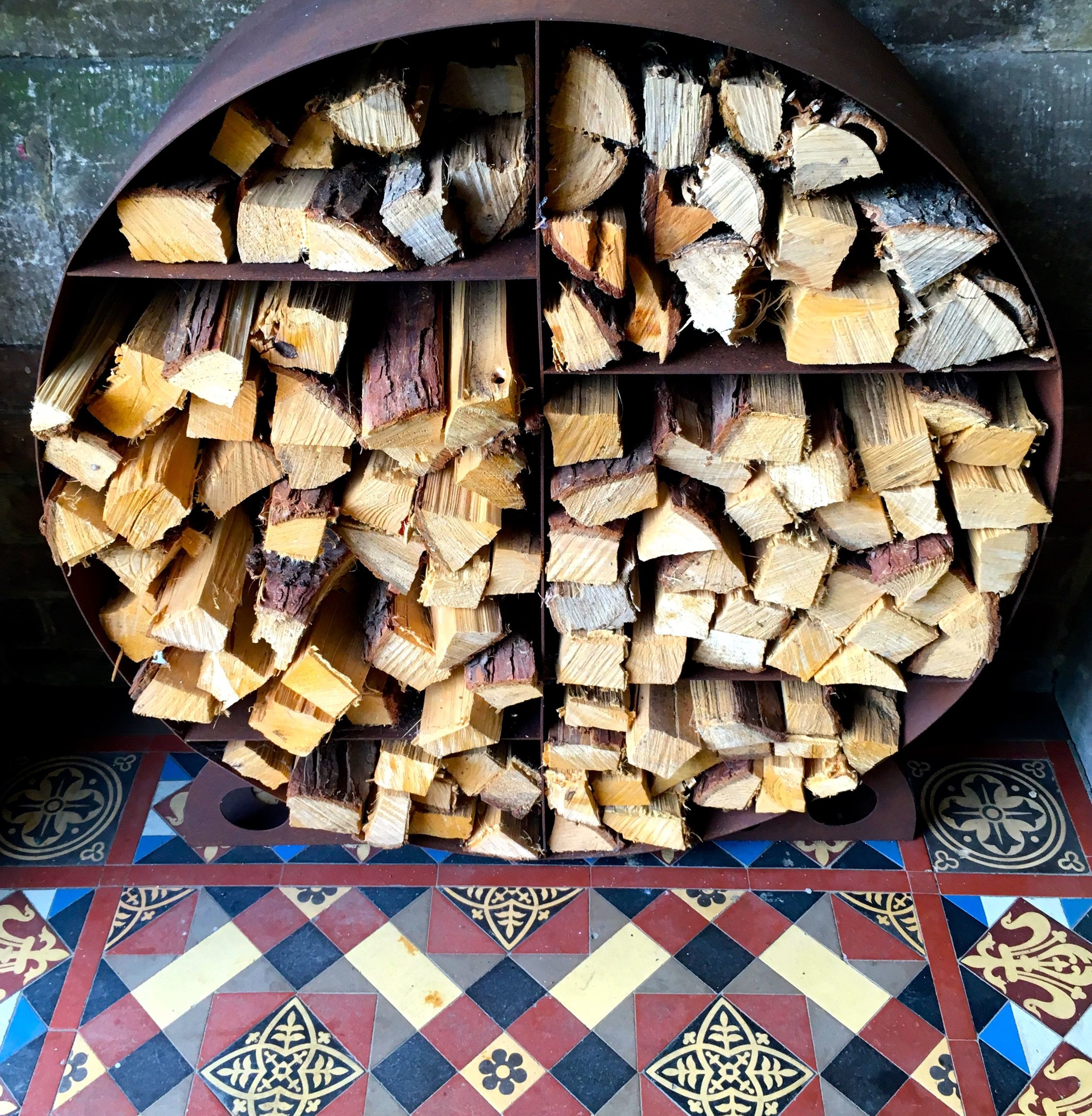 A log store and pretty tiles