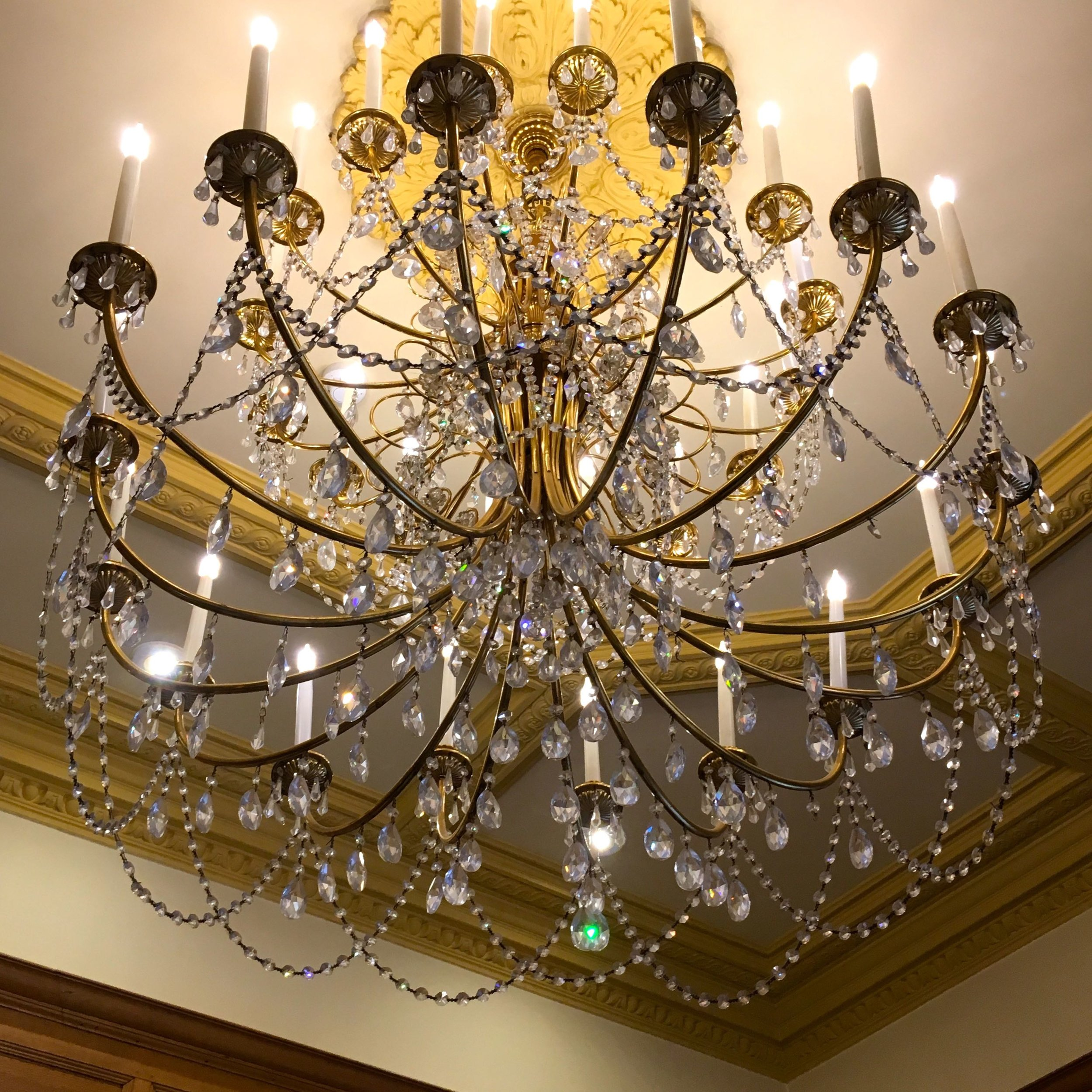 A chandelier in the lobby