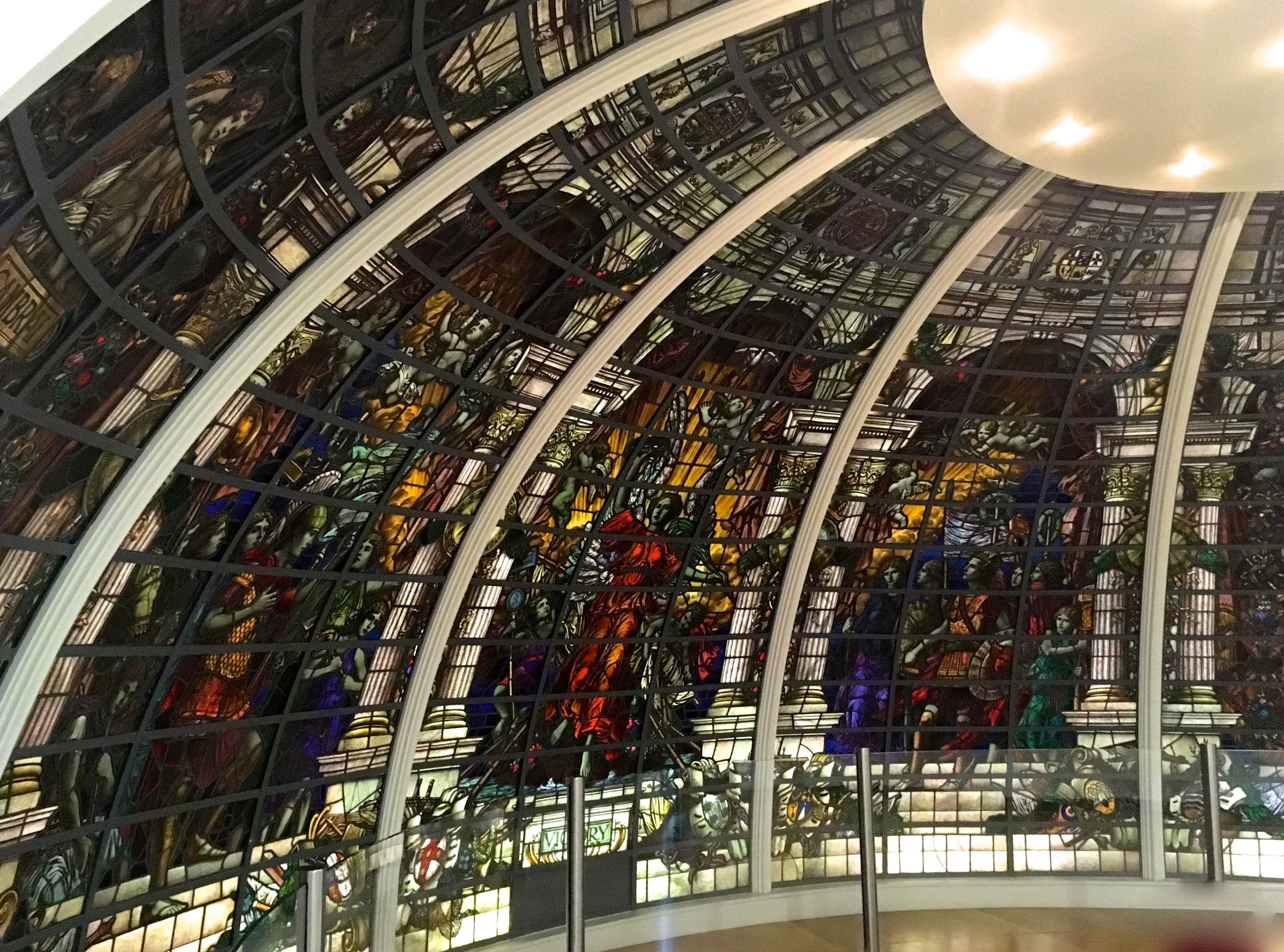 The half-dome stained glass window from the Baltic Exchange London