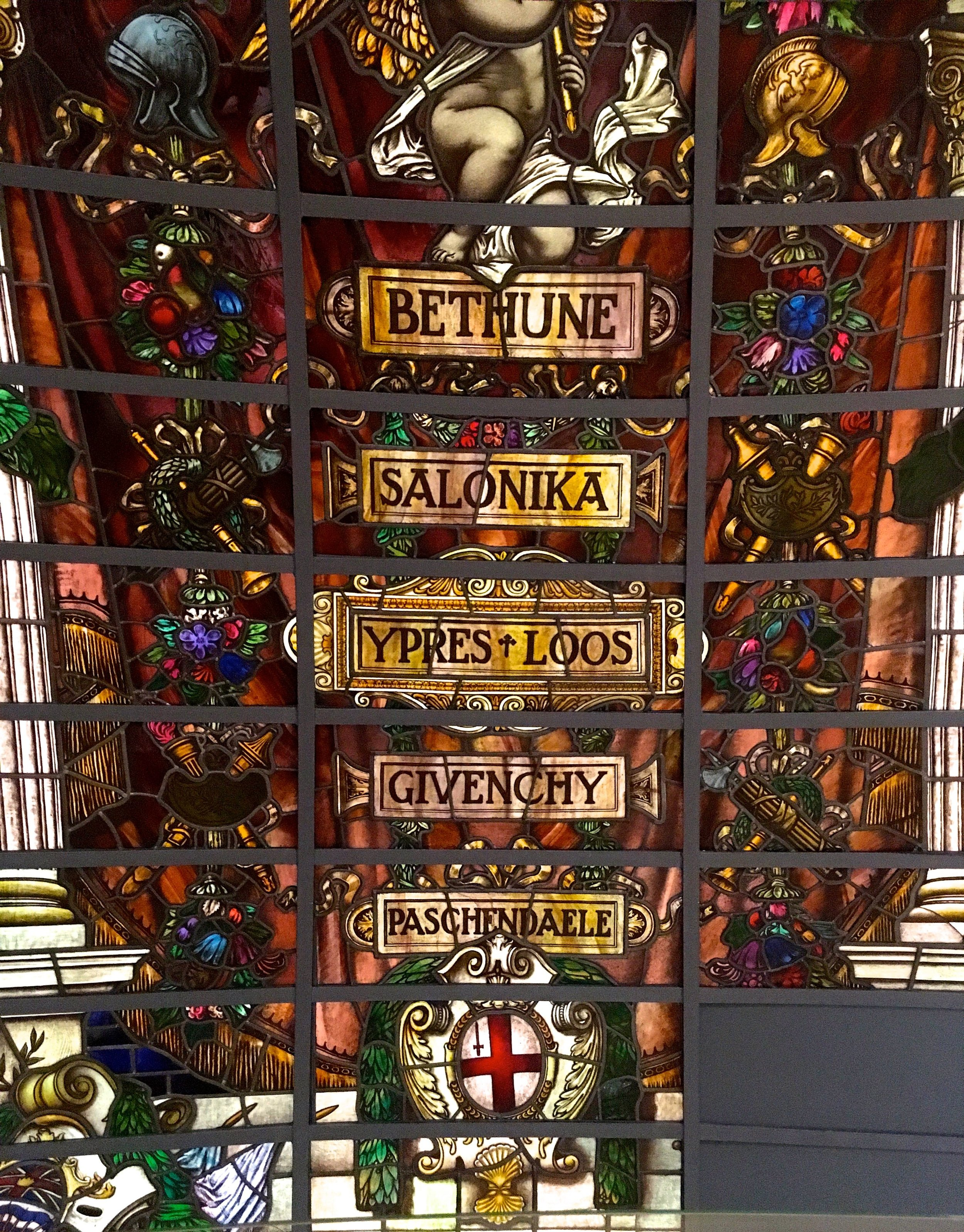A section of the restored Baltic Exchange stained glass window
