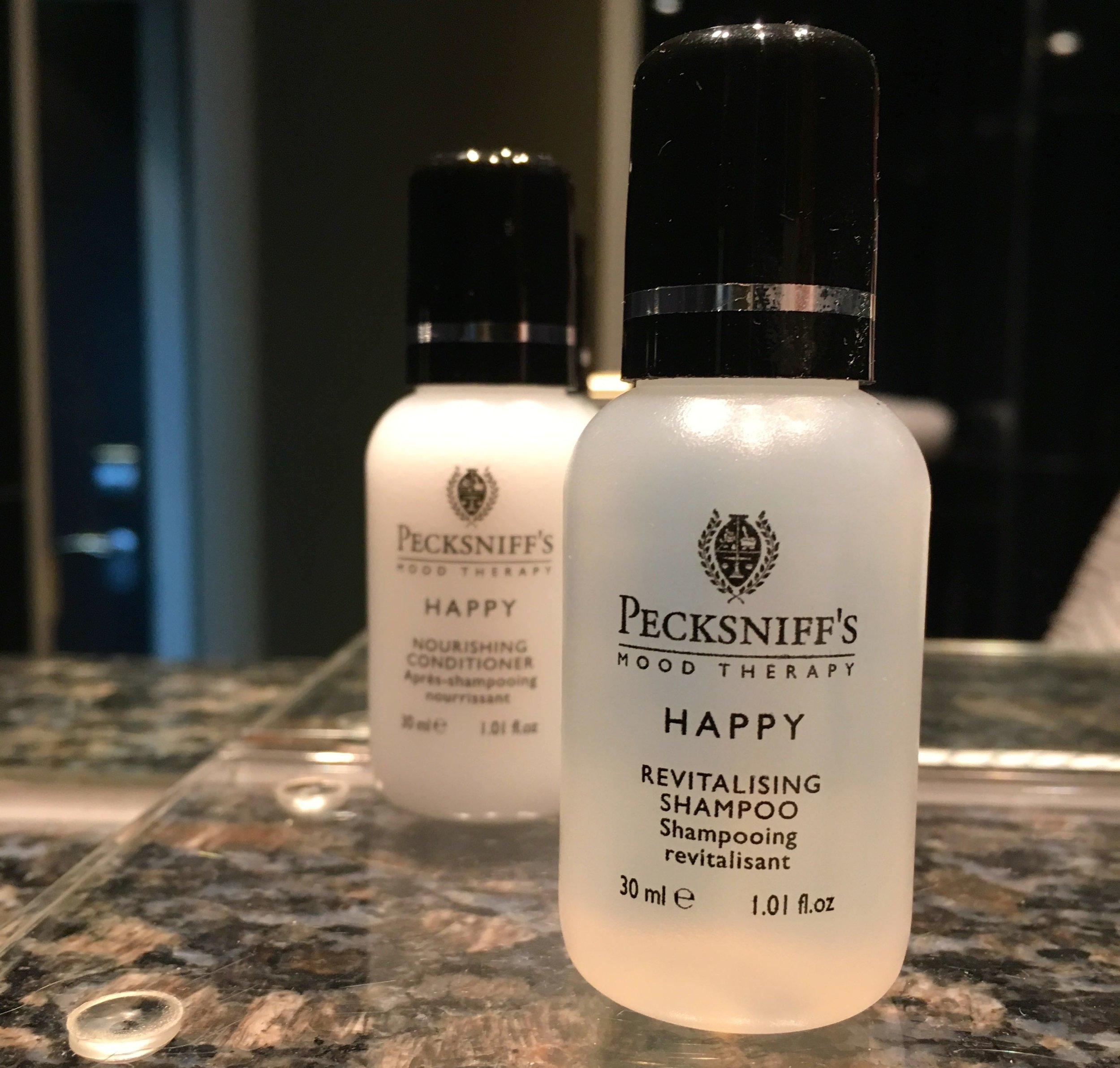 Brooklands Hotel in Weybridge with Pecksniff's Happy toiletries - which made me smile
