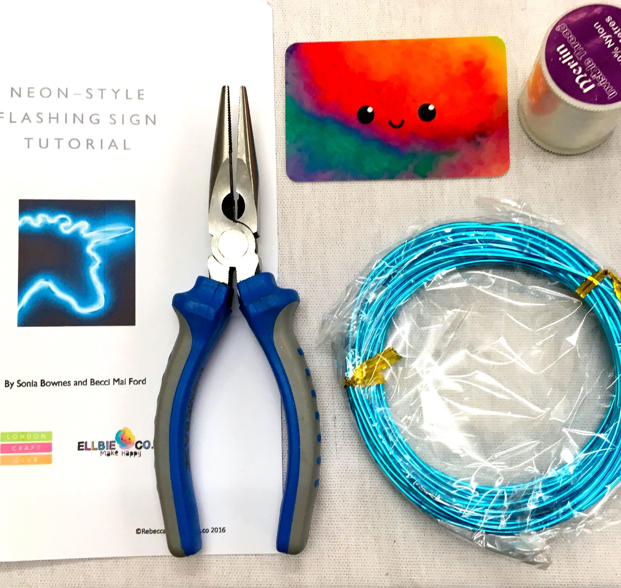 materials for the make a neon sign workshop