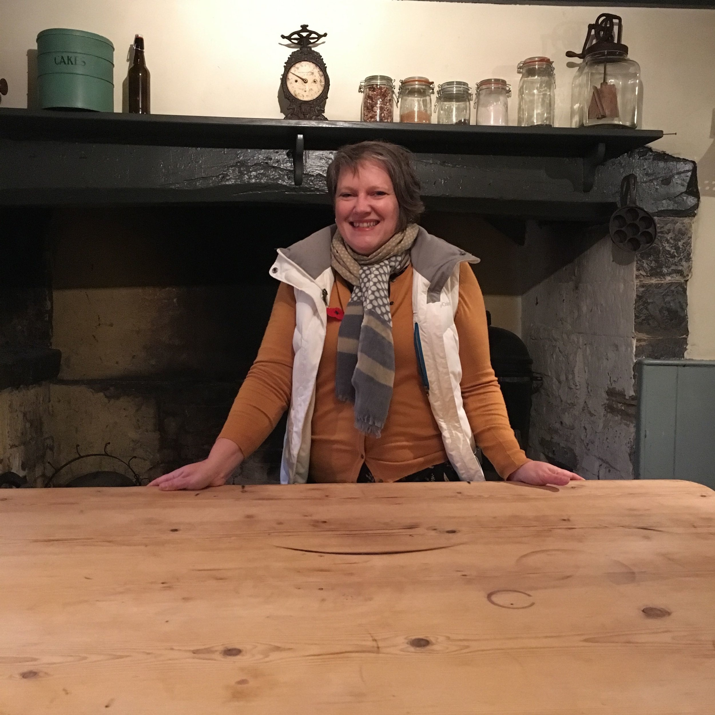 Well it had to be done didn't it - me in Hugh's kitchen in the farmhouse at River Cottage HQ