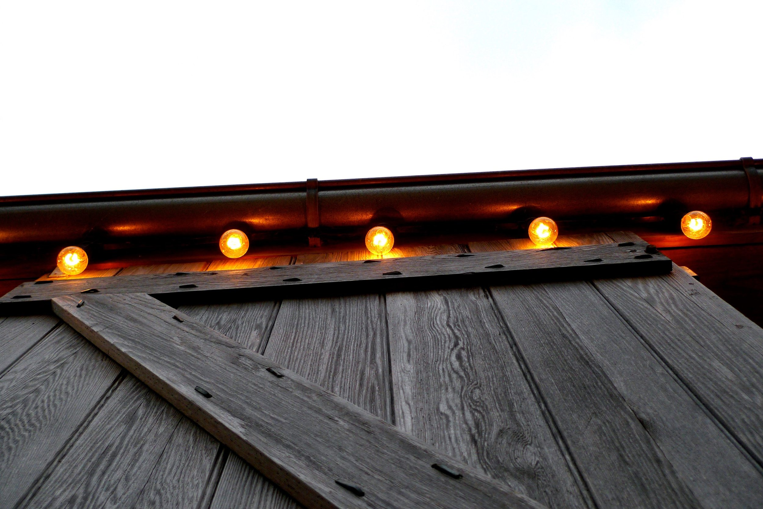 Admiring the lights on a very big door on the barn at River Cottage HQ