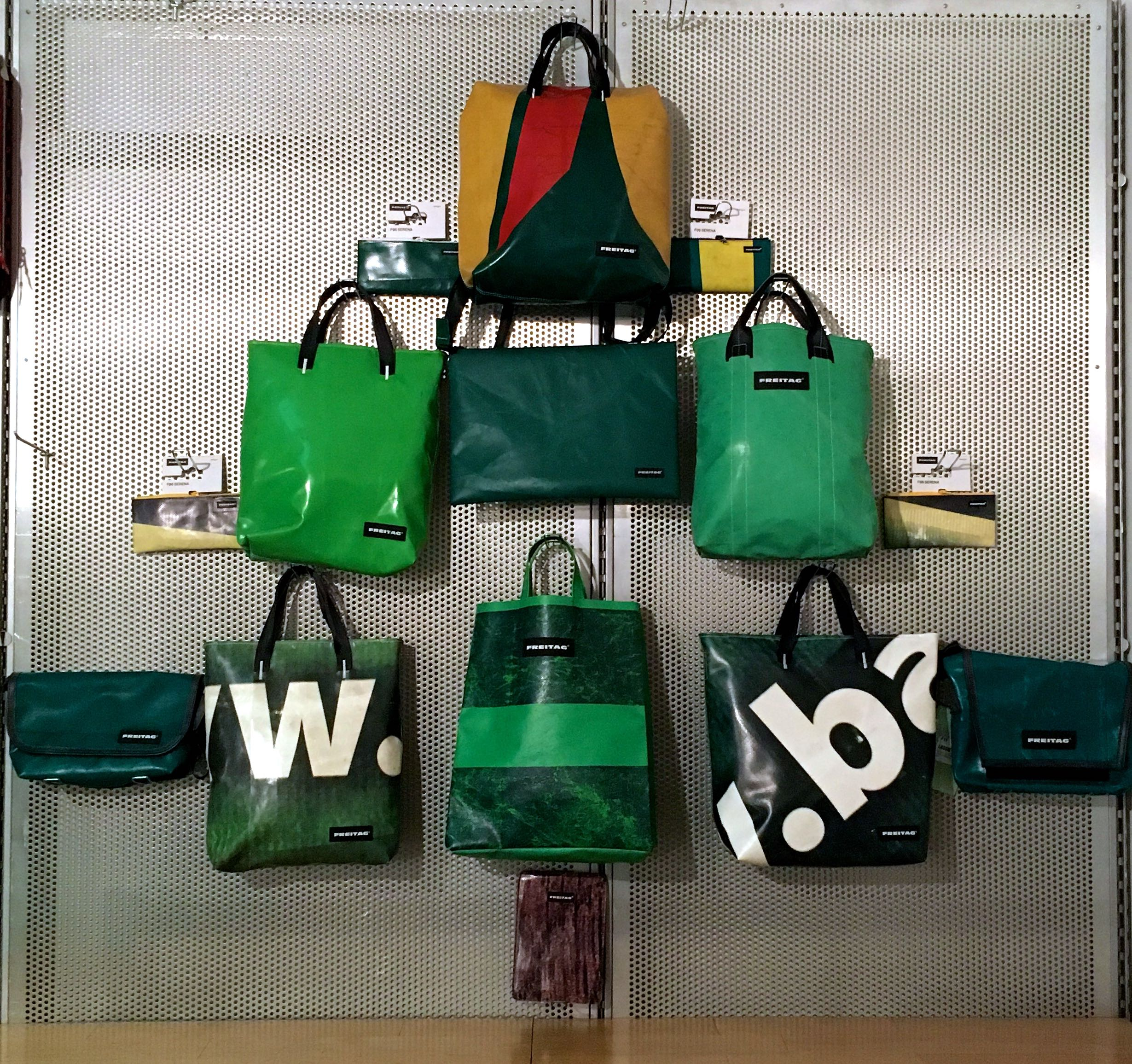 A christmas tree of Freitag bags at the London Graphic Centre