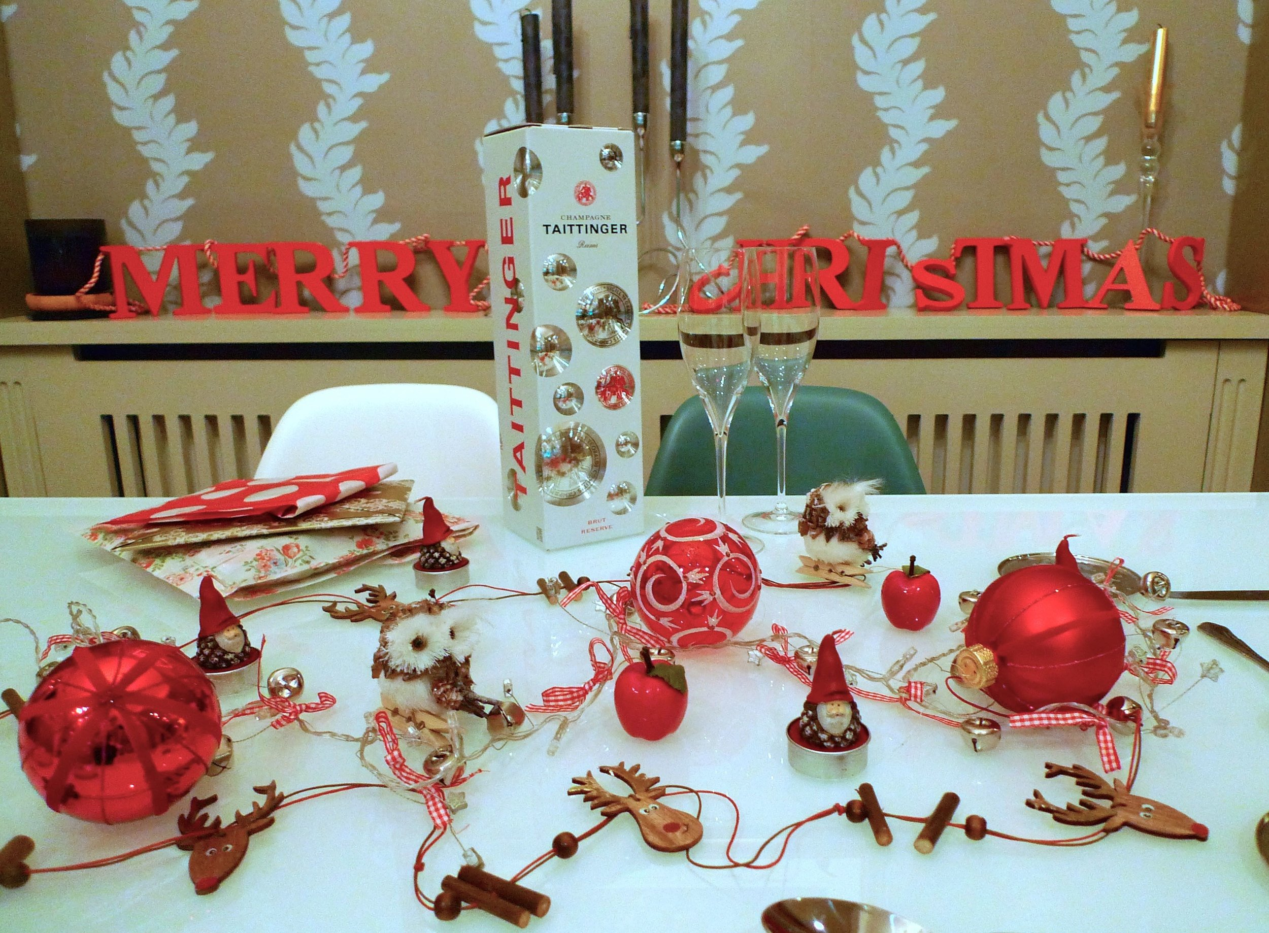 A christmas table decorated with items from TK Maxx
