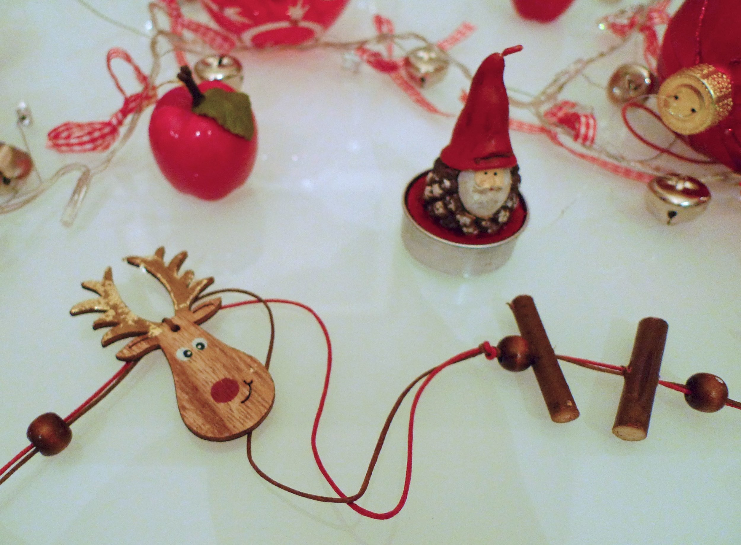 reindeers garlands, father christmas tea lighters and jingle bell lights from TK Maxx