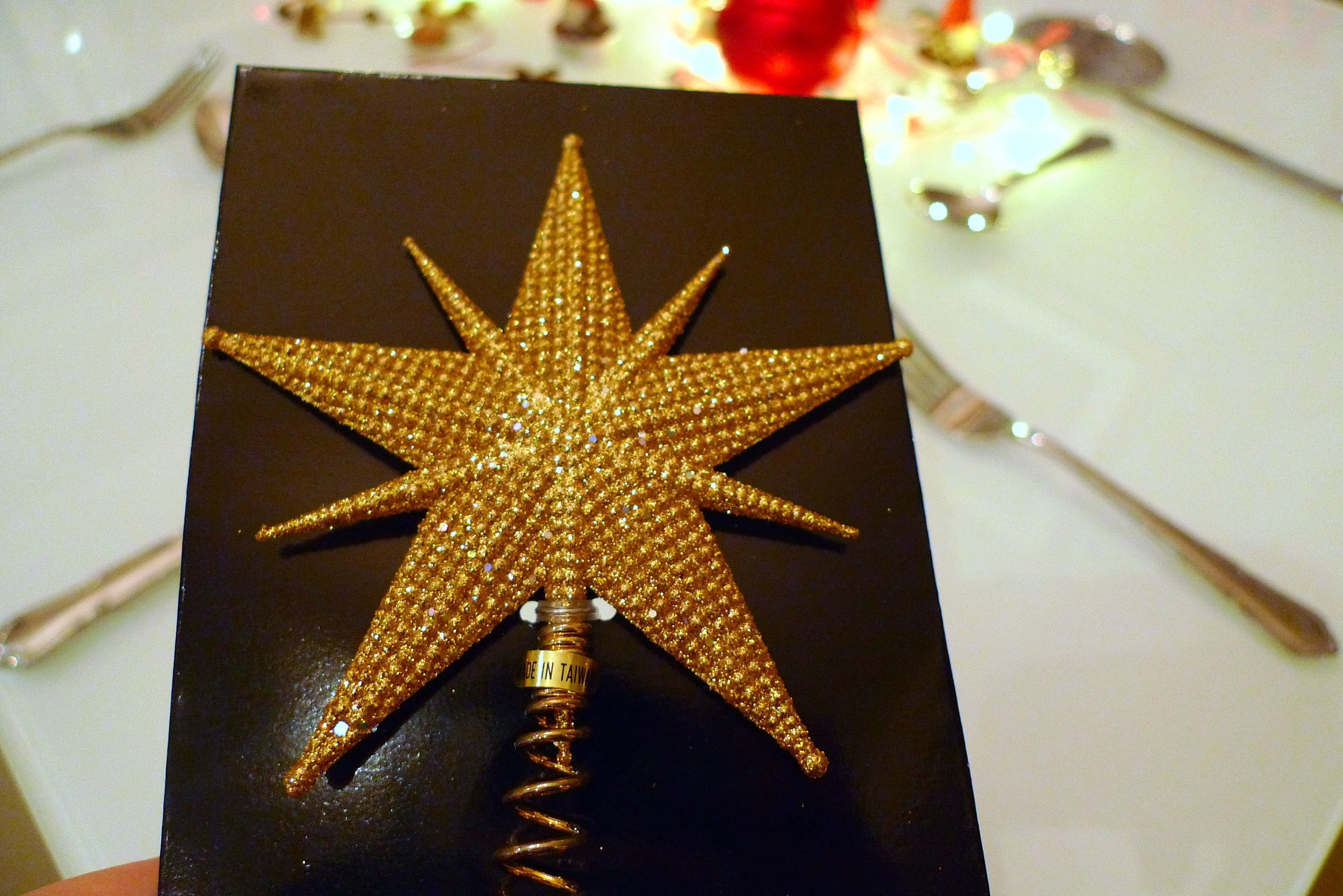 A gold star for the top of my christmas tree from TK Maxx