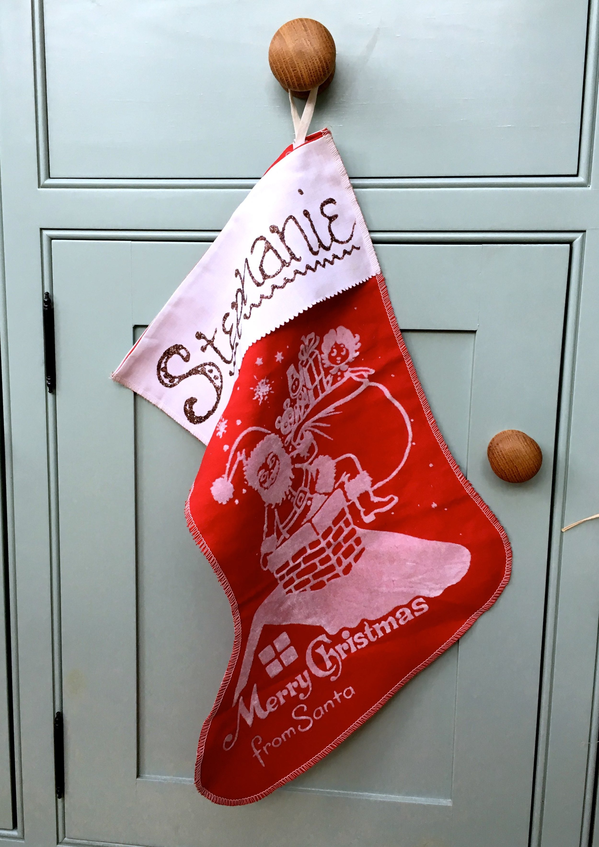 My vintage christmas stocking complete with a glitter name