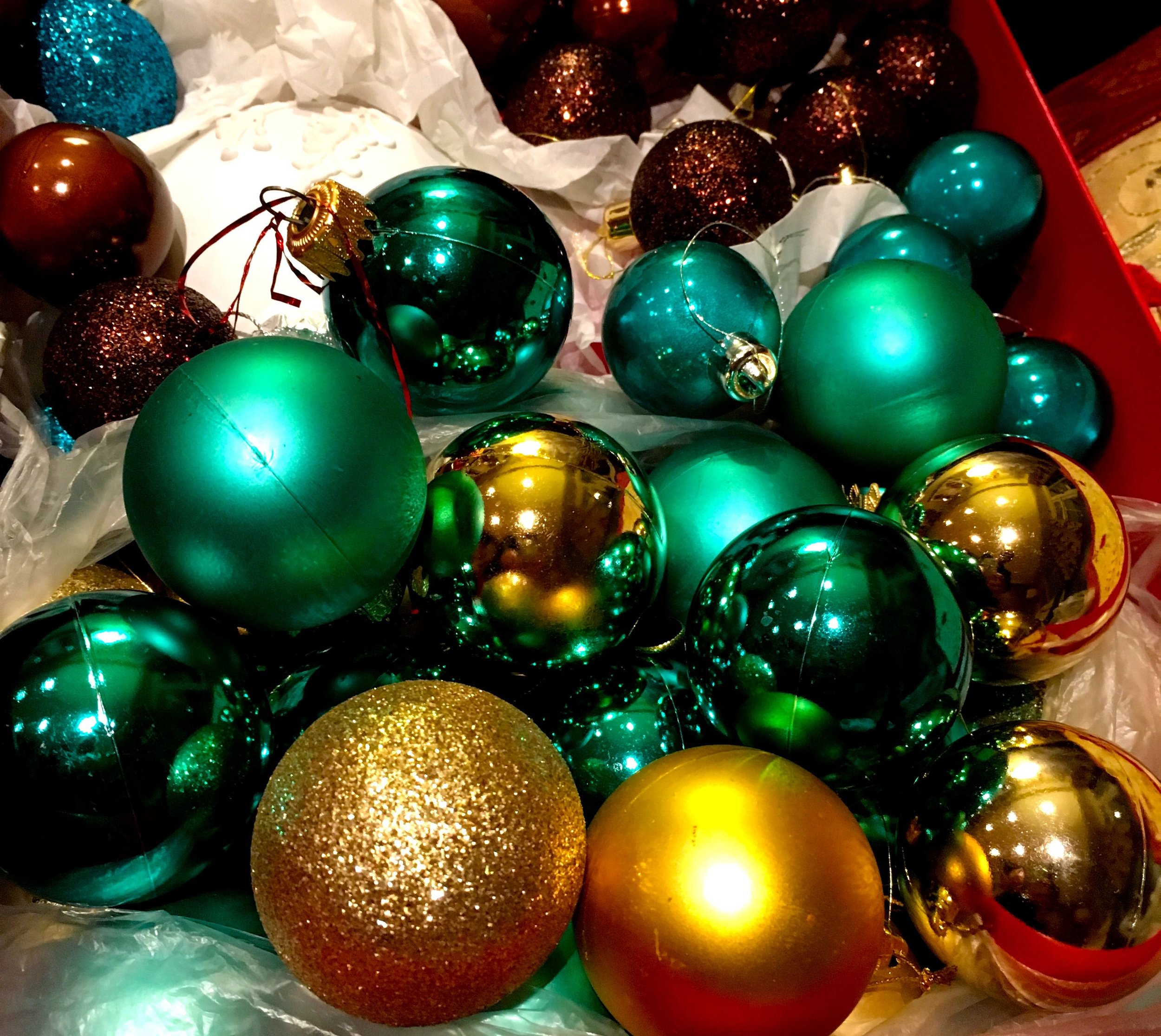 Christmas baubles back in their box