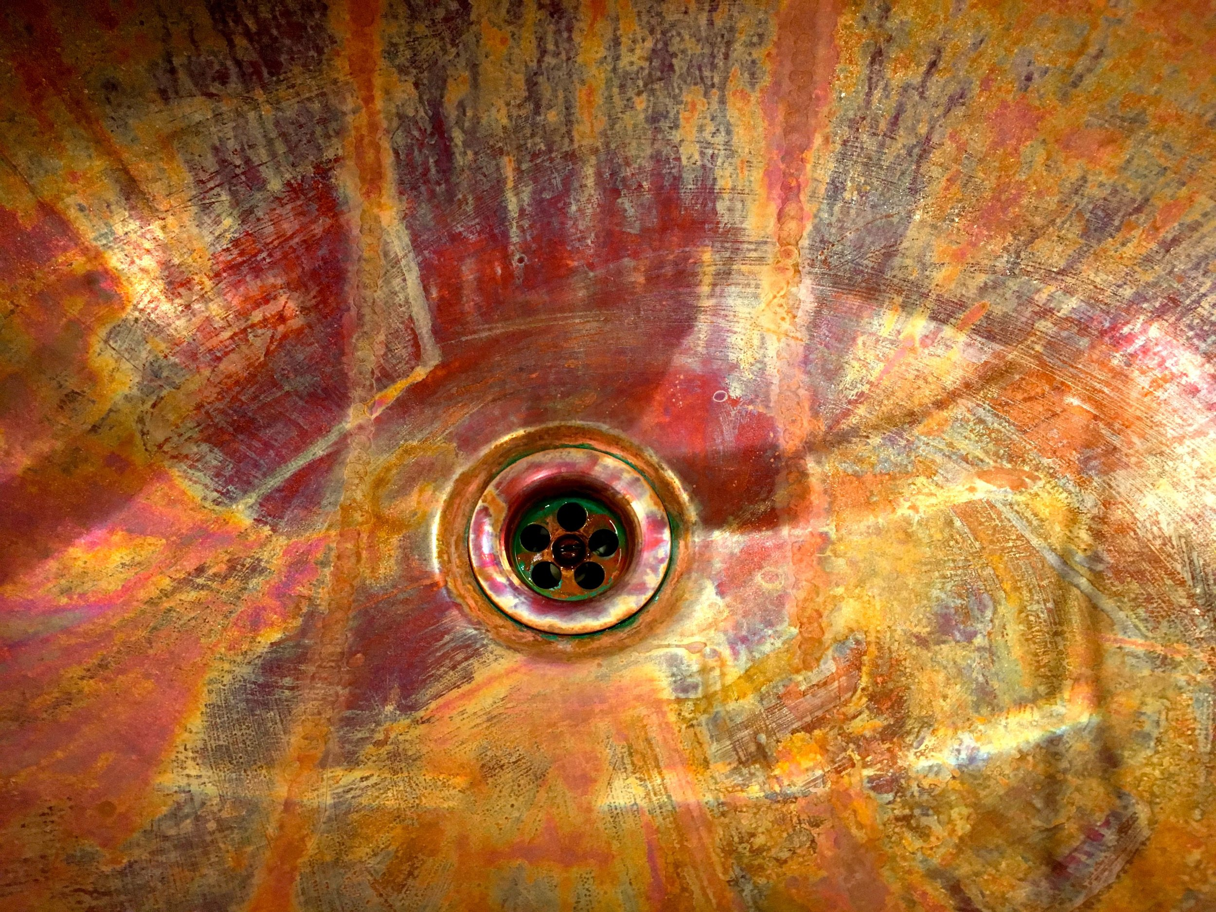 Just look at the colours and the patination of the copper sink