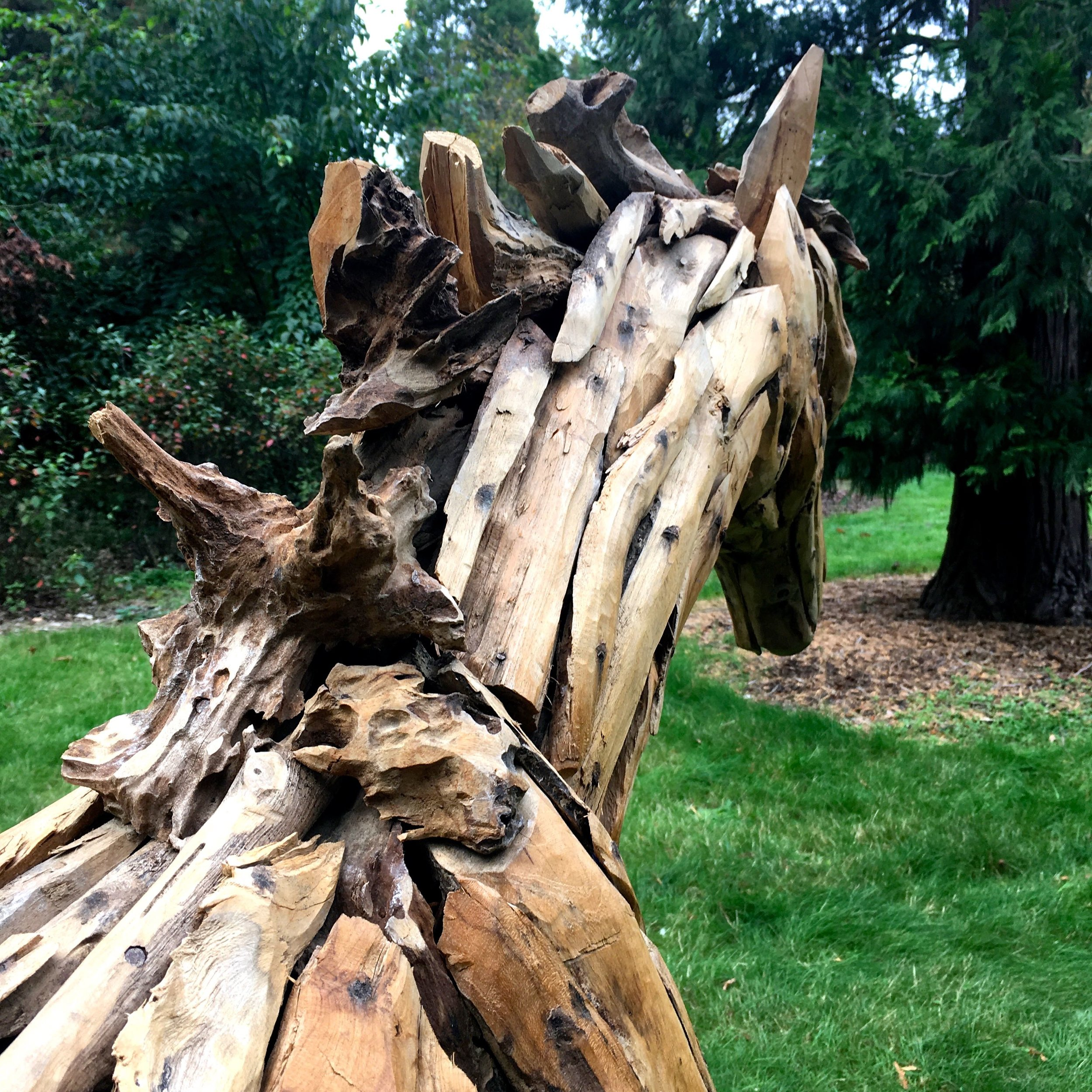 A horse sculpture in wood