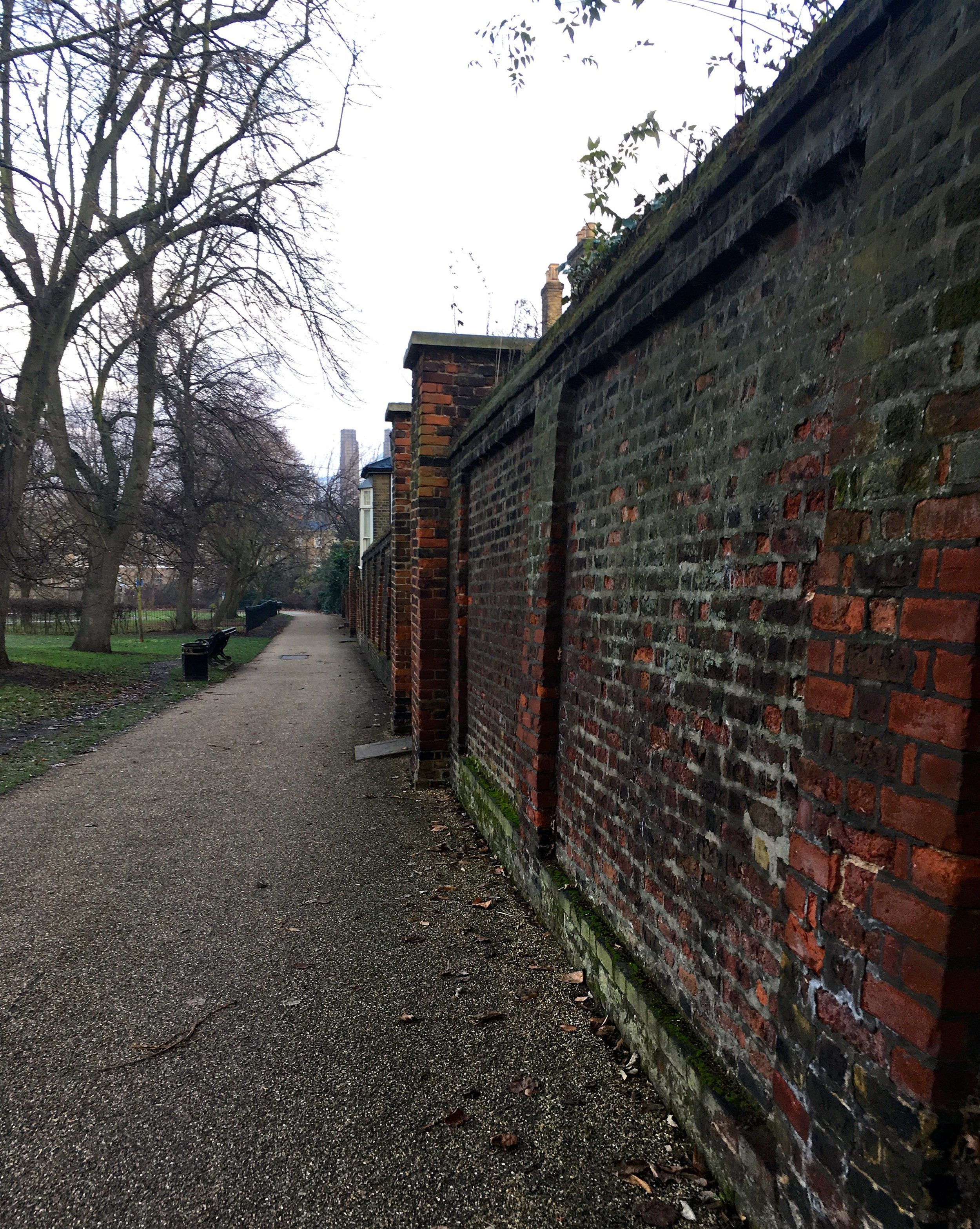 A boundary wall inside Greenwich Park