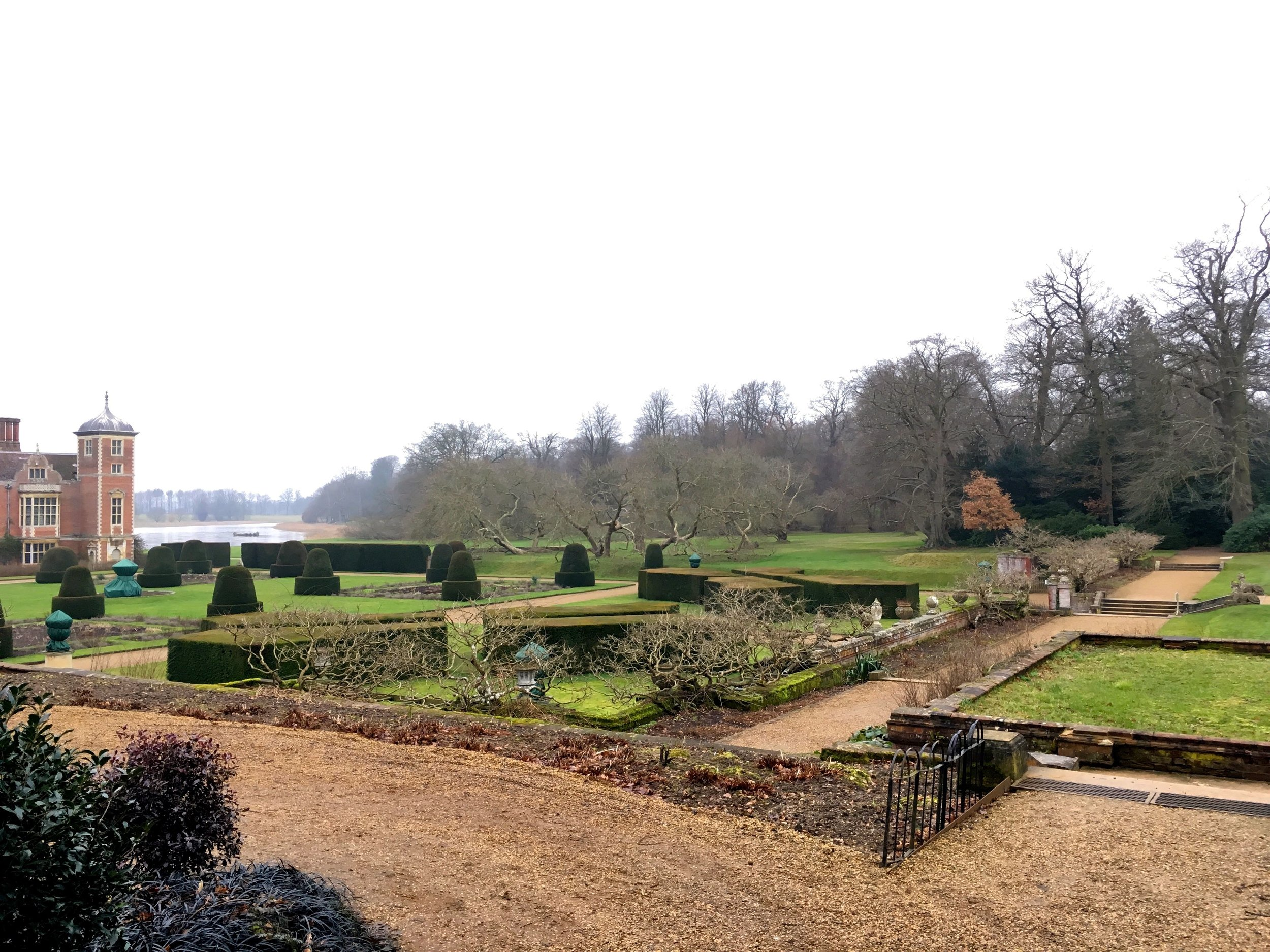 Looking back towards the hall and the lake over the formal garden at Blickling in February