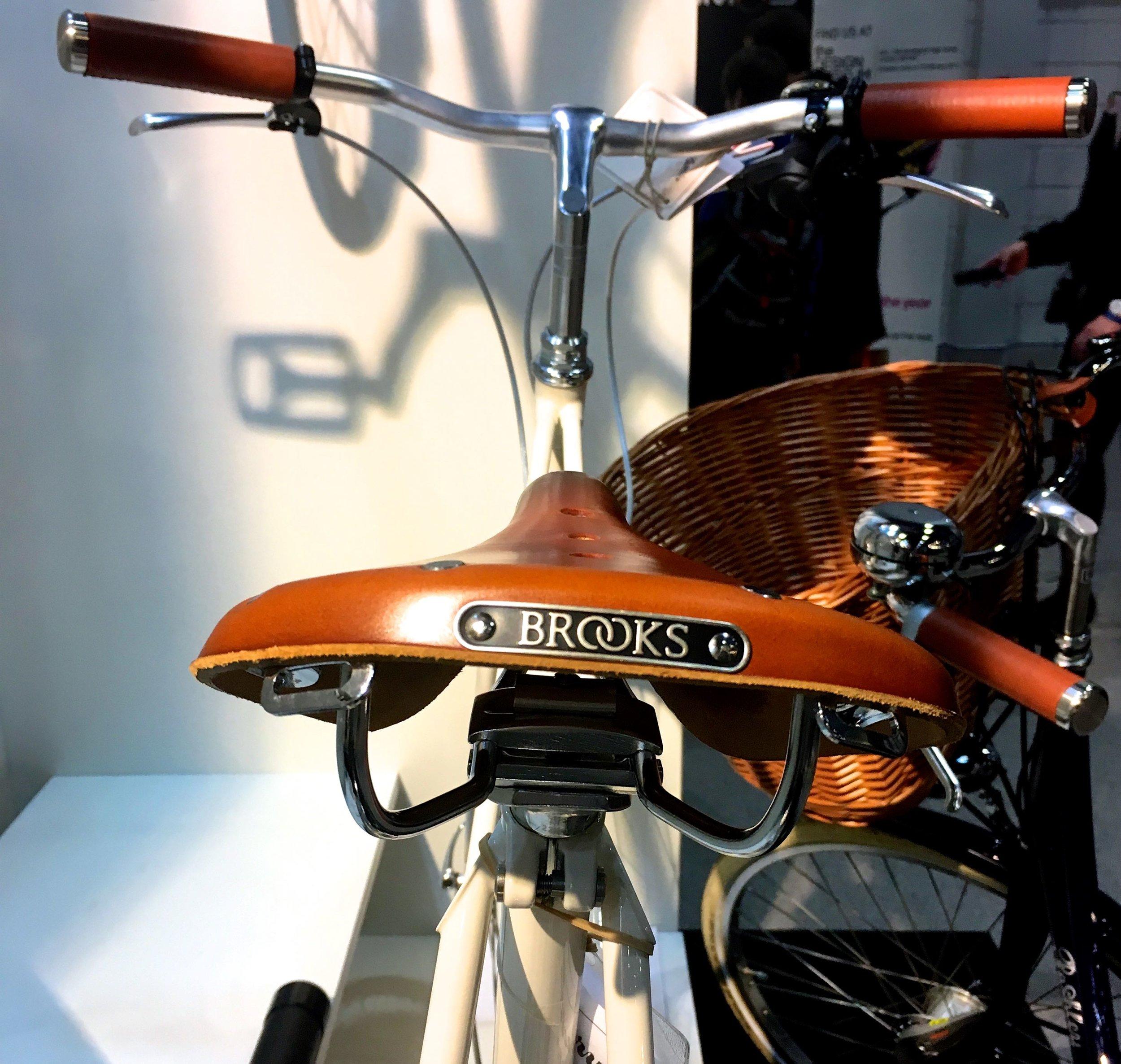 A Brooks saddle on a Pashley bike at the London Bike Show