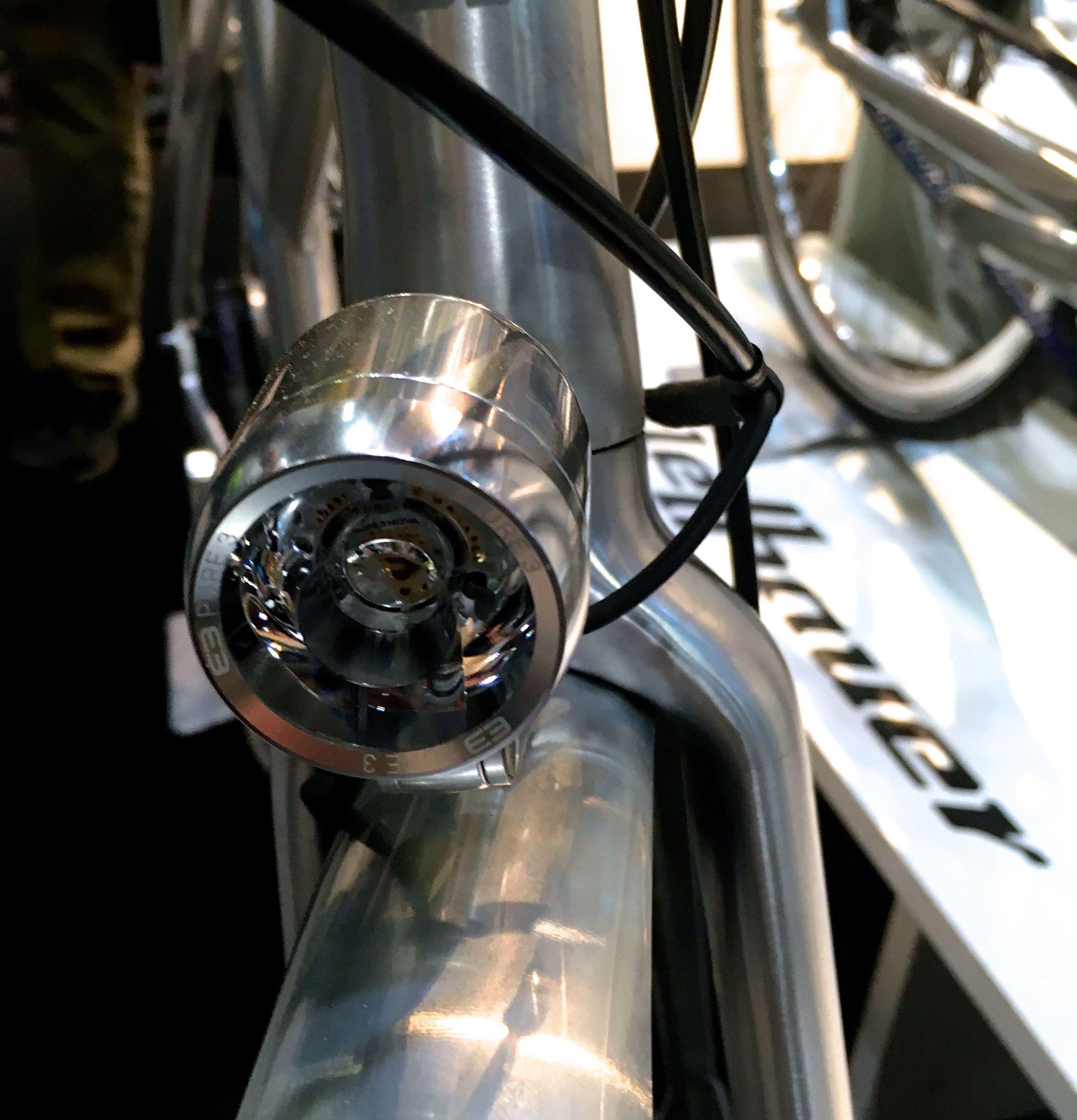 An inbuilt light for the top of the range bike at the London Bike Show