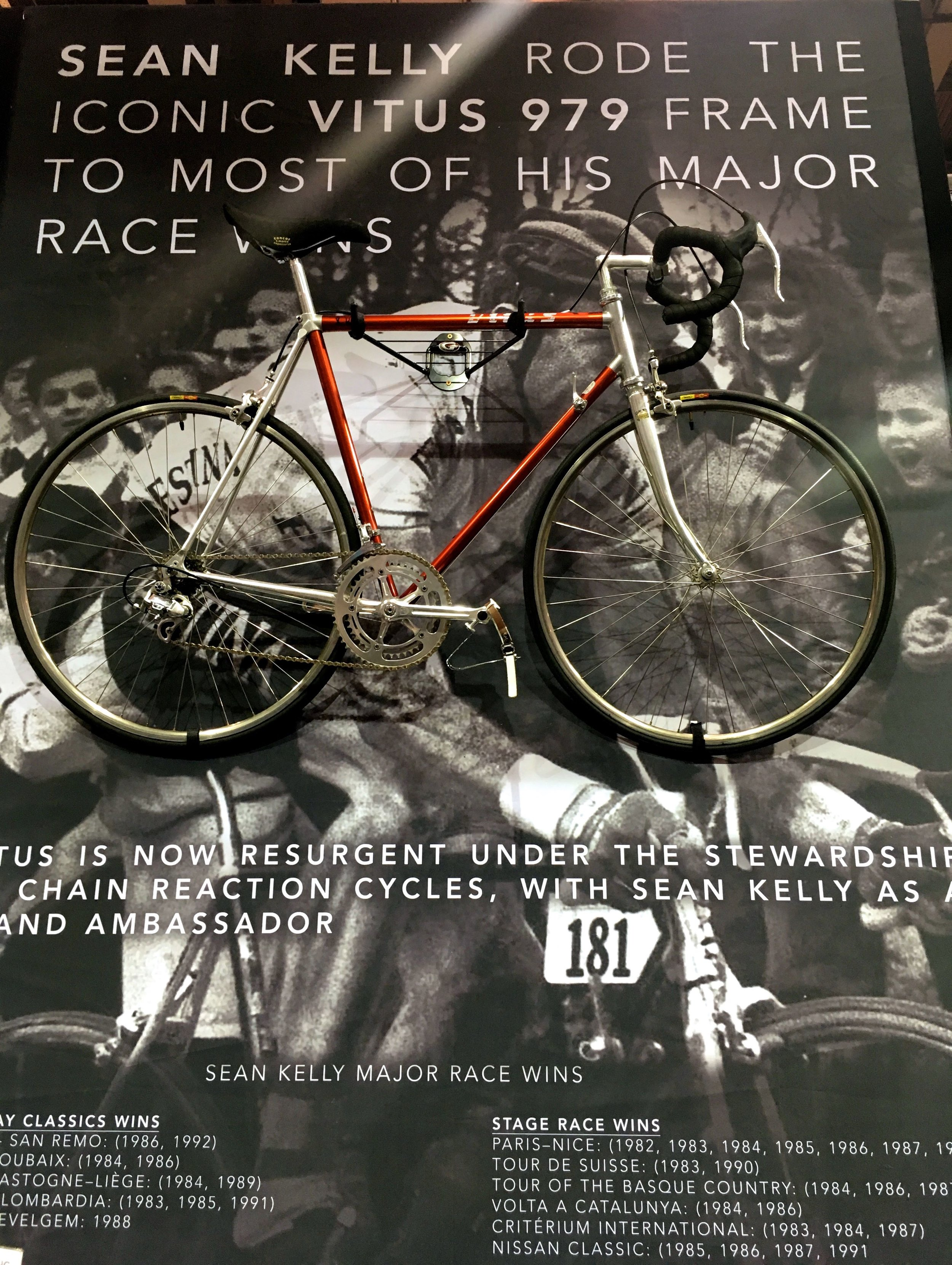 Sean Kelly rode the iconic vitus 979 frame for most of his major rice wins, poster at the London Bike Show
