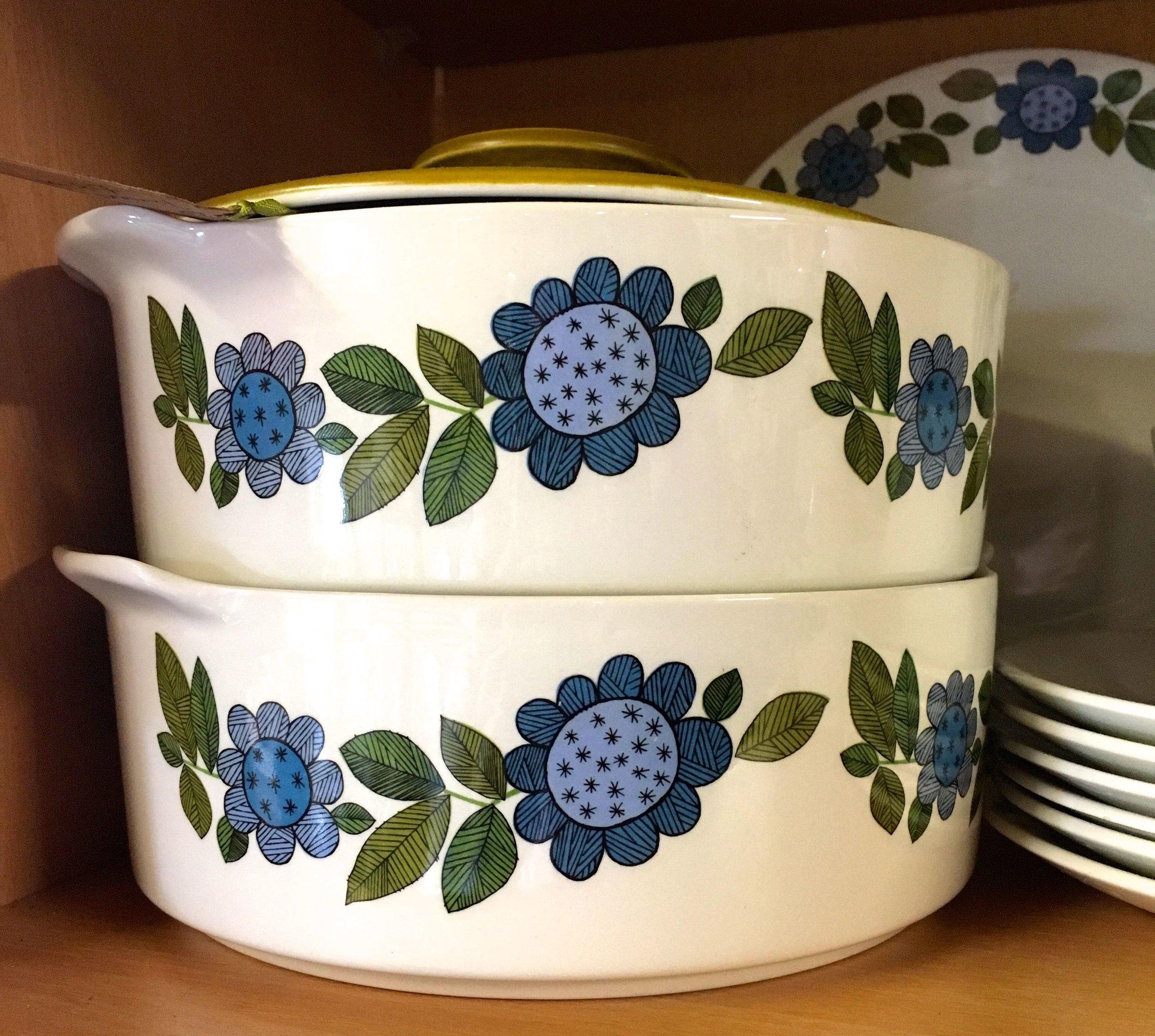 blue patterned serving bowls