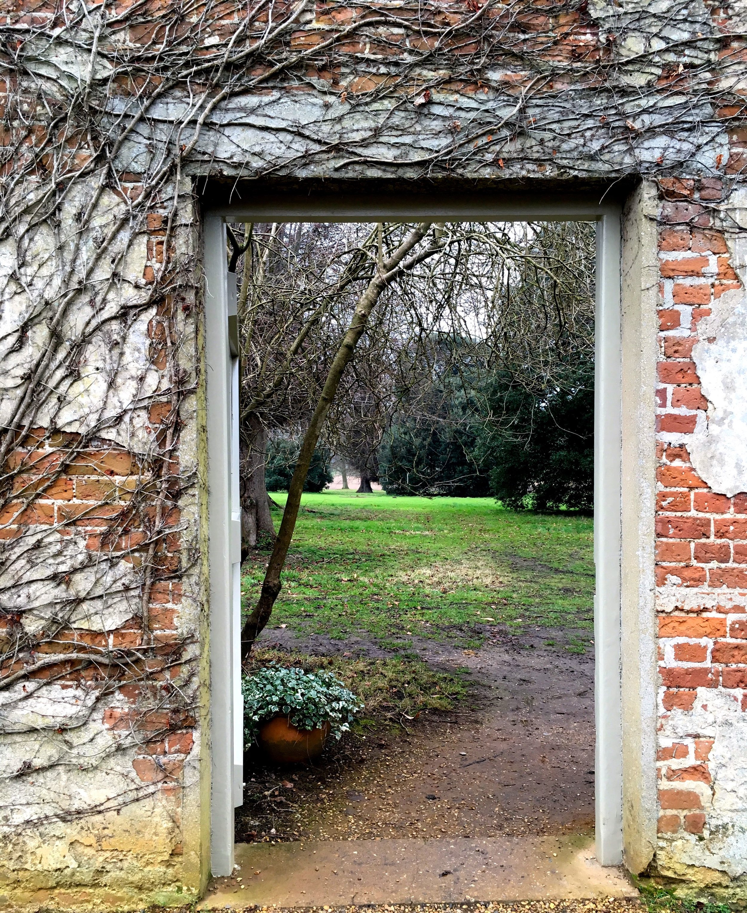 Looking through the gate at the Kitchen Garden on the Blickling Estate in Norfolk
