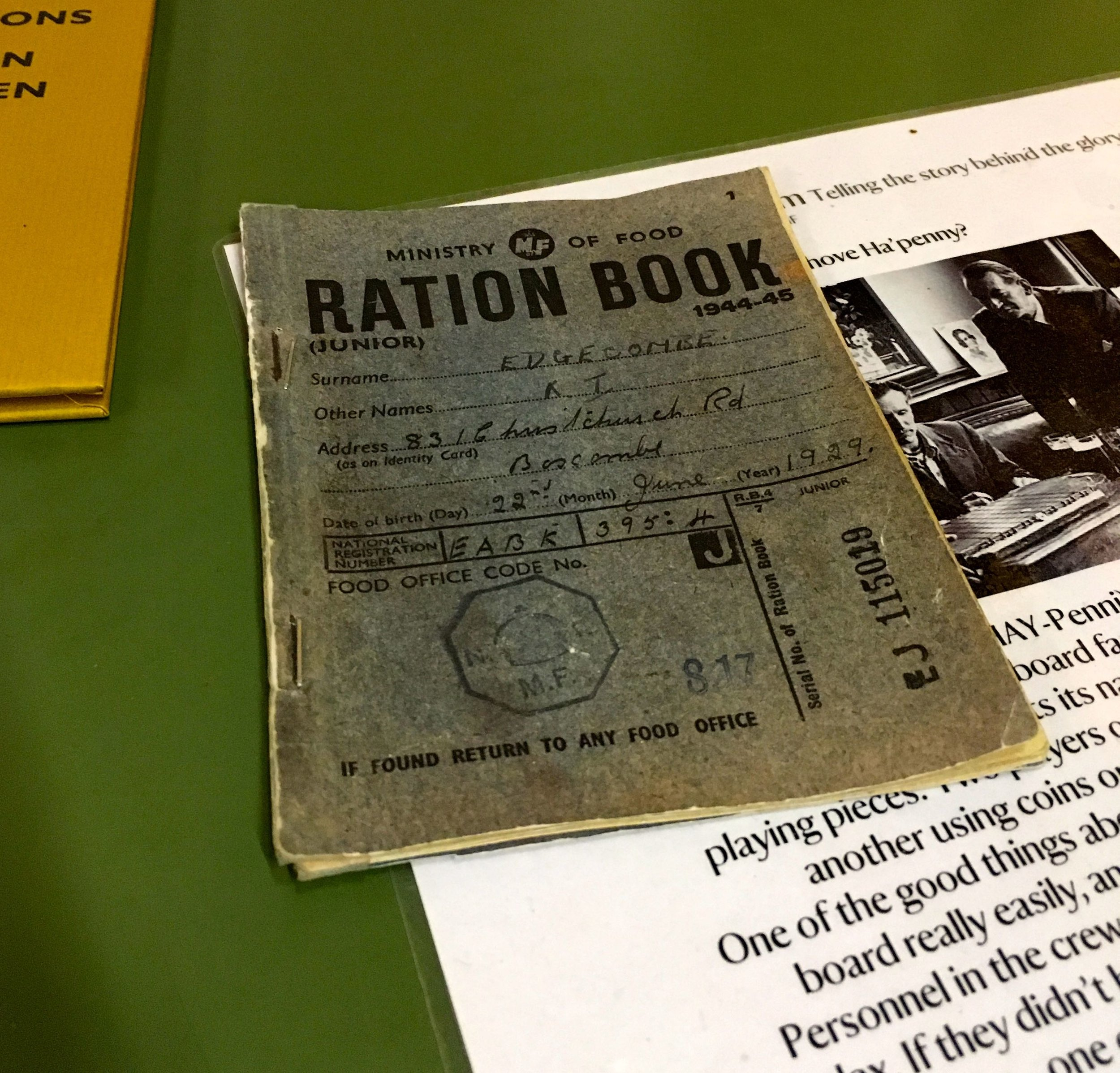 A ration book on display at Blickling