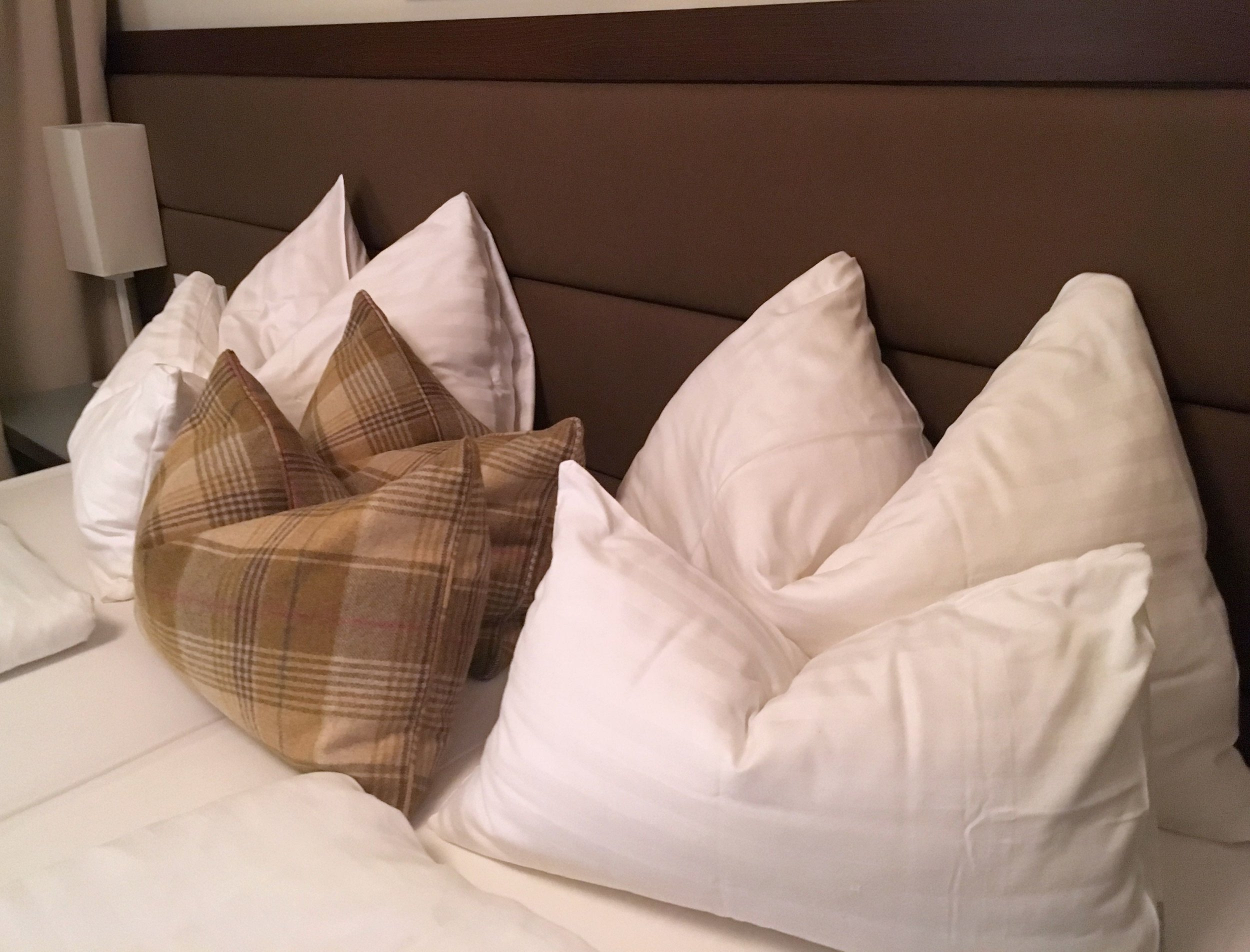 pillows tyrol style in my austrian hotel room
