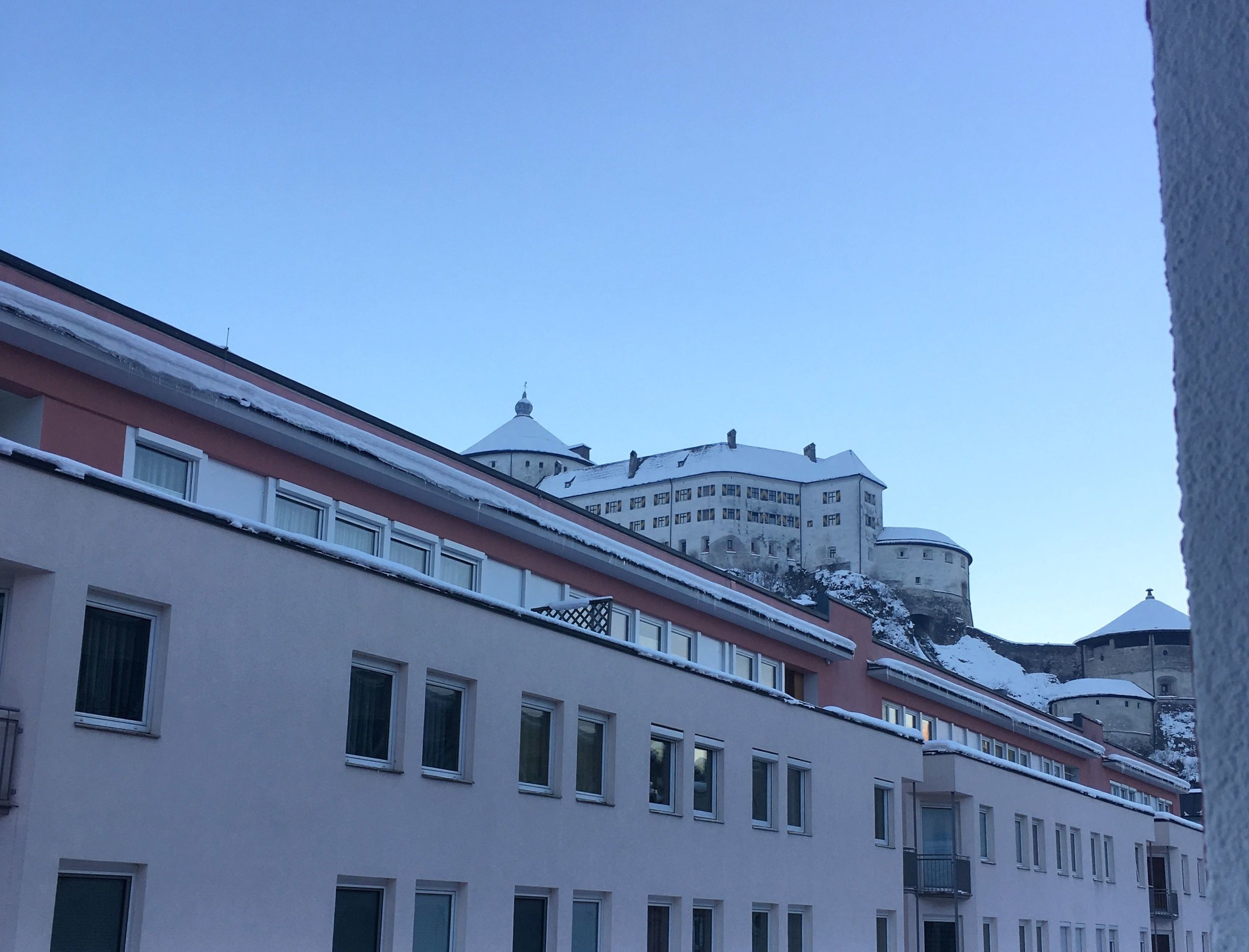 Looking out of the hotel bedroom towards the Fortress in Kufstein in the early morning