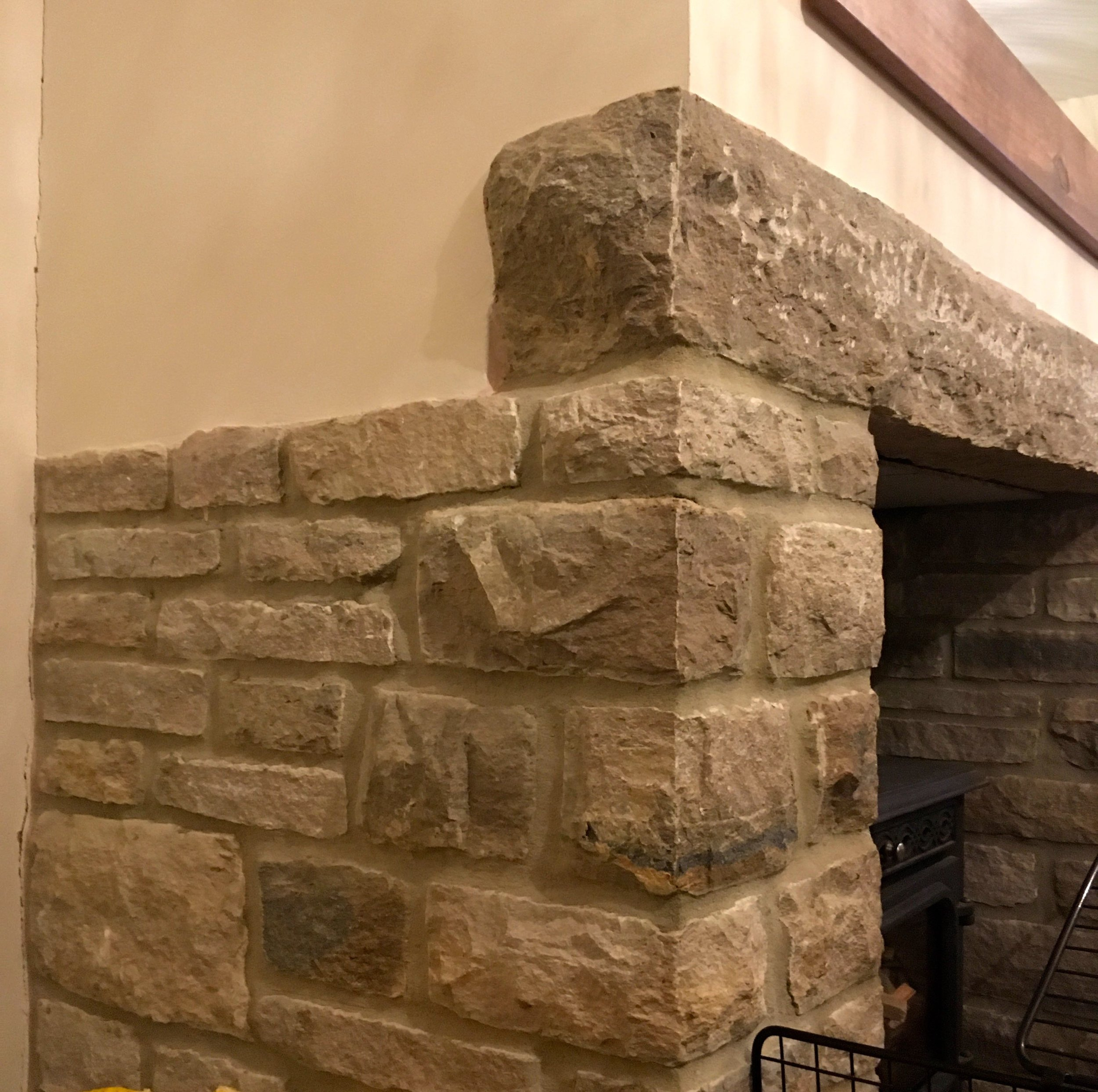 A close-up of the open fireplace