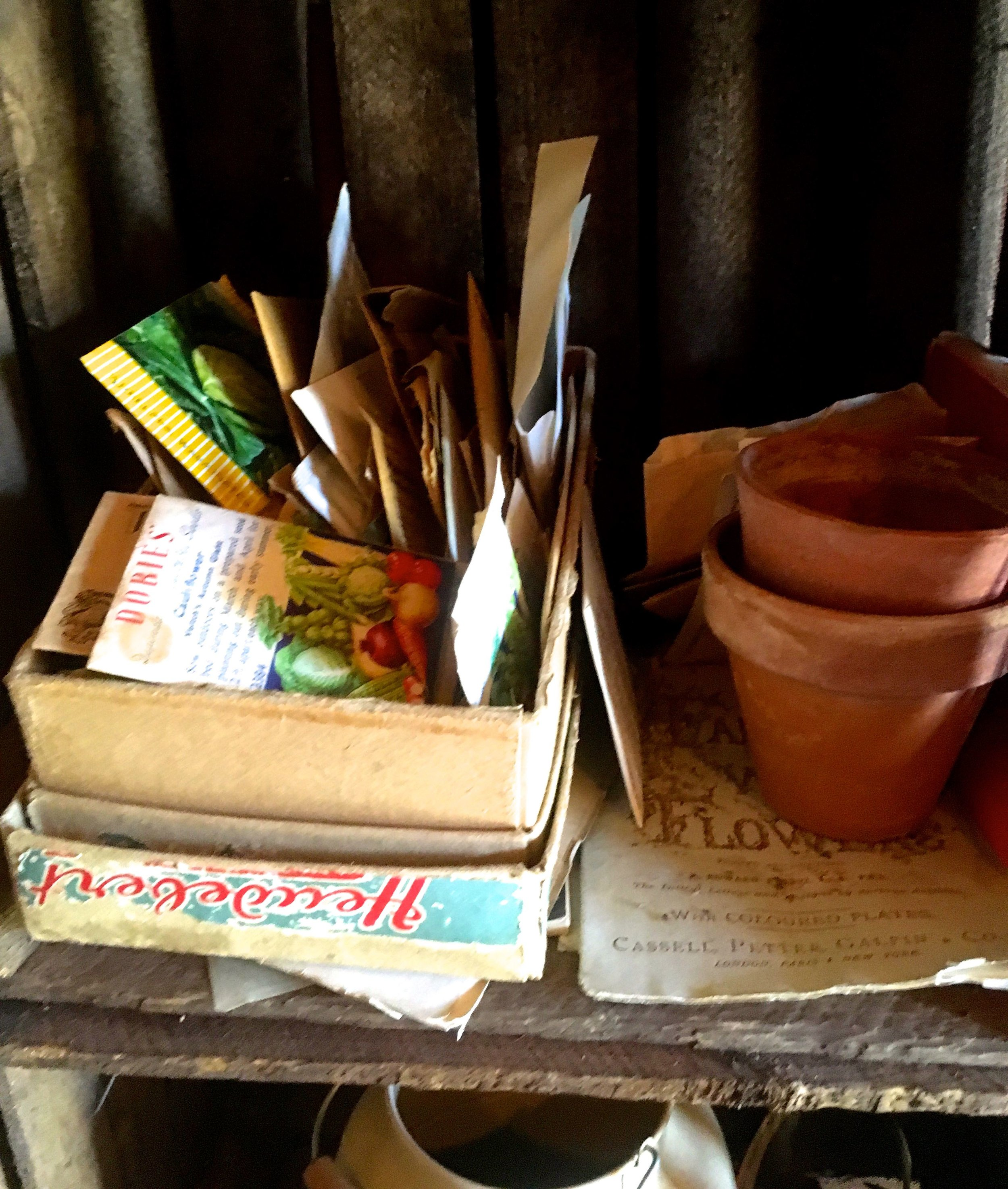More seeds and vintage looking packets, looking about as neat and orderly as my own seed store