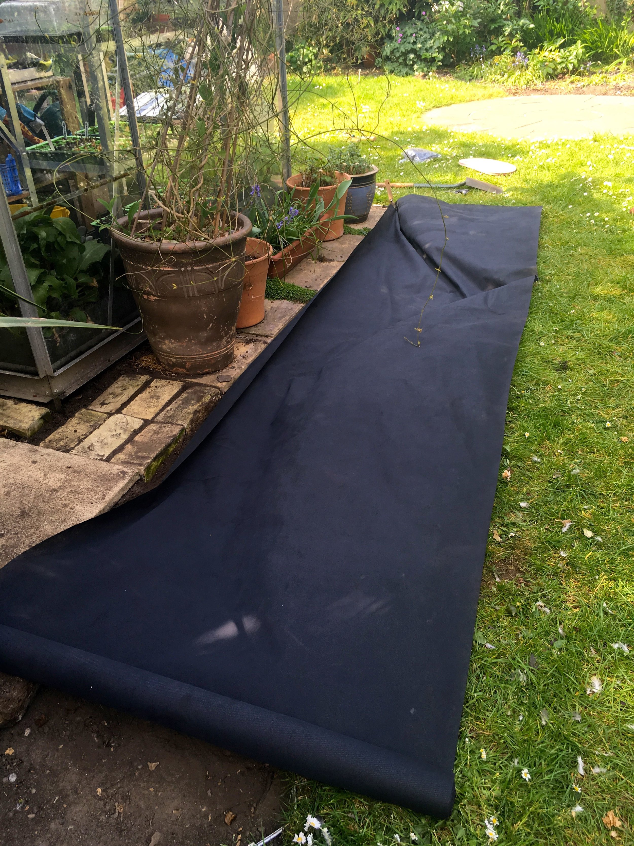 And then it was time for the membrane, which was much easier to lay than I anticipated