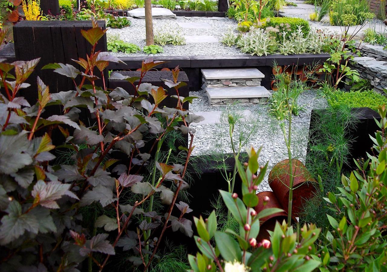 The sunken garden element of The Great Chelsea Garden Challenge 2015 - a front garden by Sean Murray