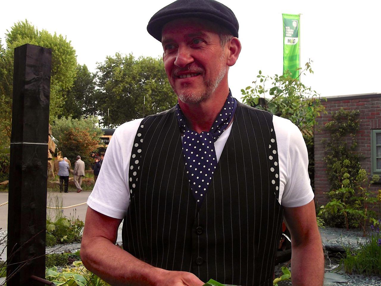 Sean Murray in his garden for The Great Chelsea Garden Challenge 2015