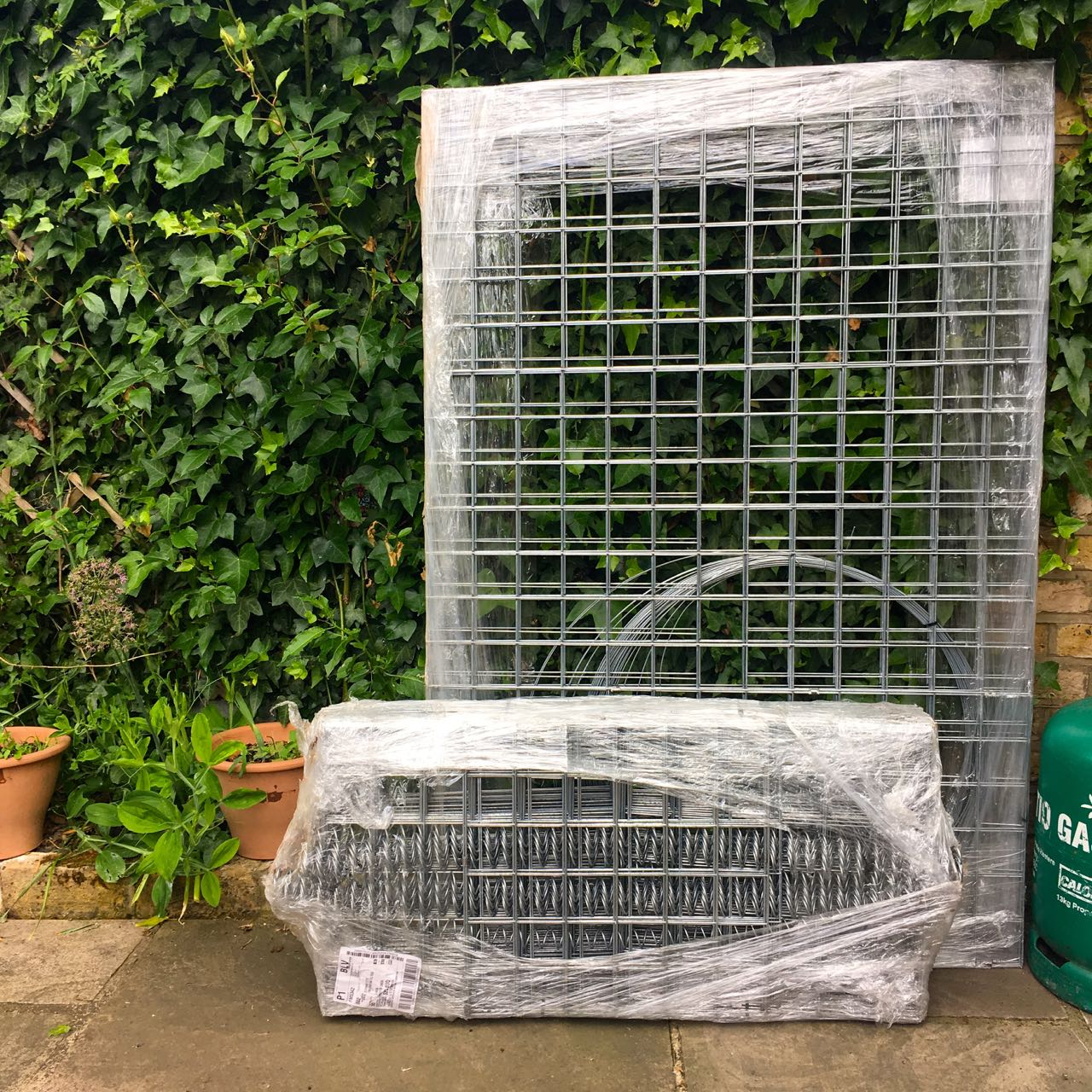 OUR GABION BASKETS, NOT LOOKING VERY BASKET-LIKE YET.