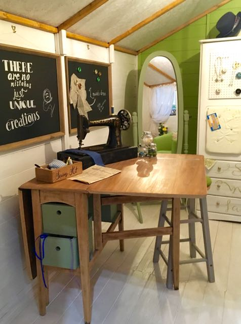 Inside the Sewing shack - a shed in the grand shed project at grand designs live 2017